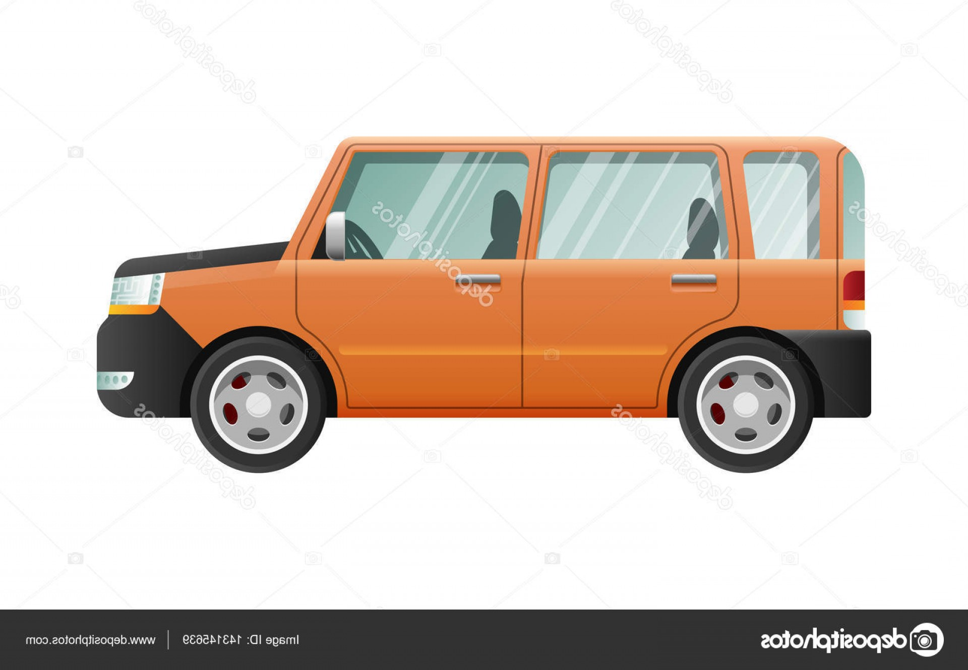 Jeep Vector Mean: Stock Illustration Orange Jeep With Clear Glasses