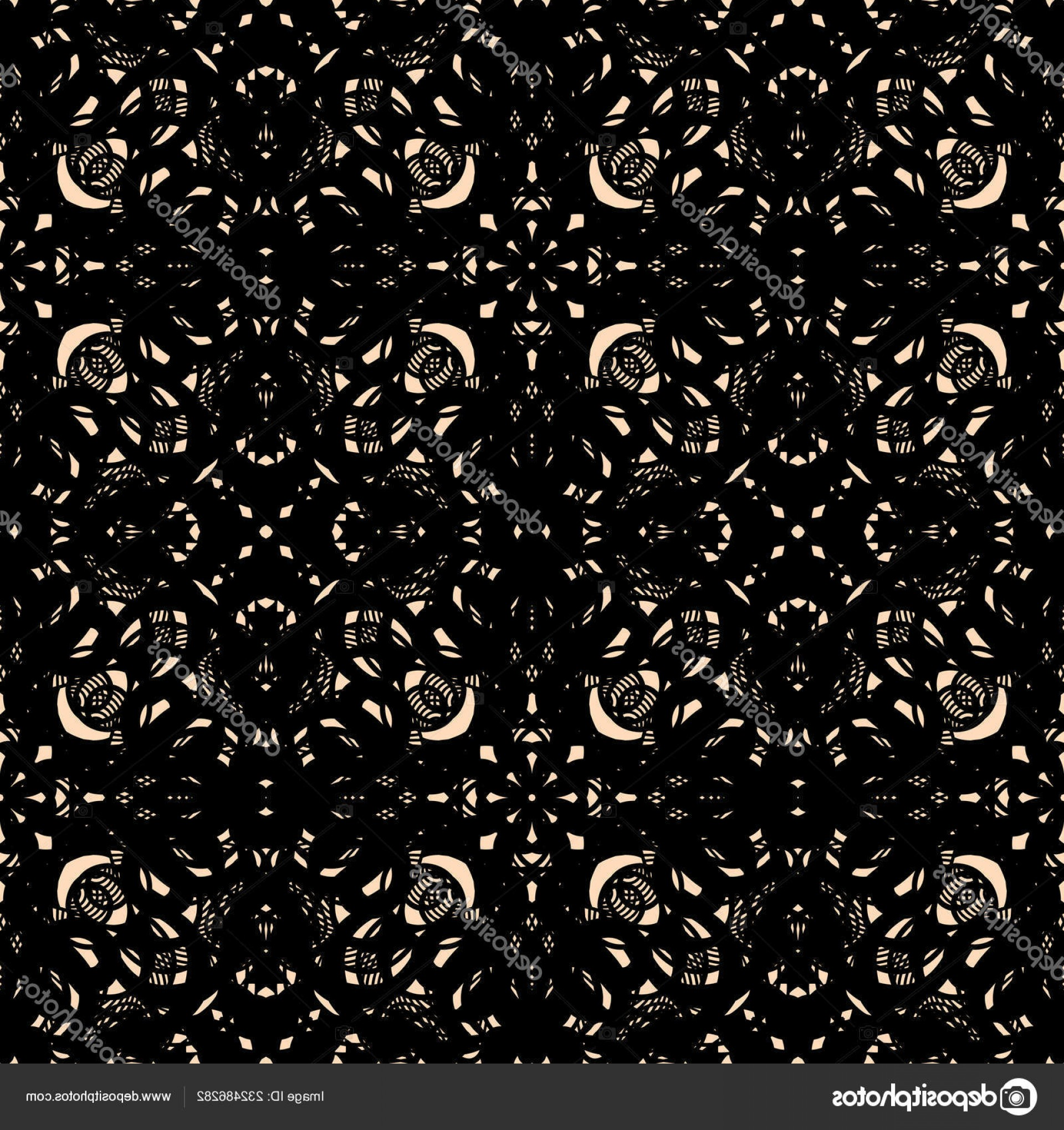 Tulle Black Lace Pattern Vector: Stock Illustration Ornate Black Guipure Lace Seamless