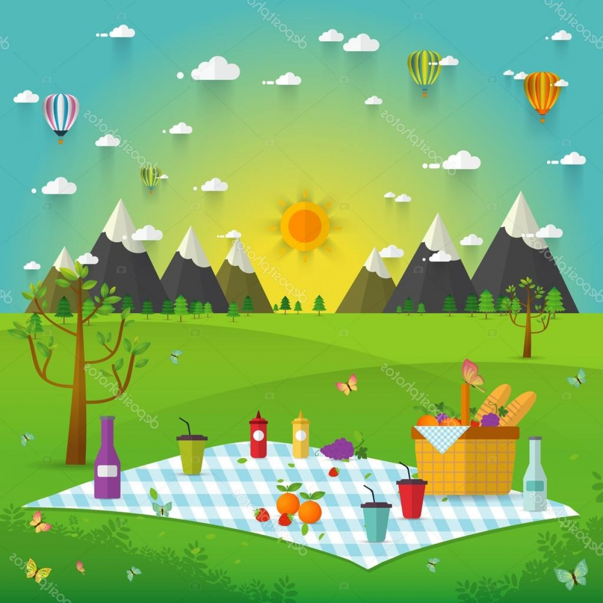 Picnic Vector Scenery: Stock Illustration Outdoor Picnic In Mountains