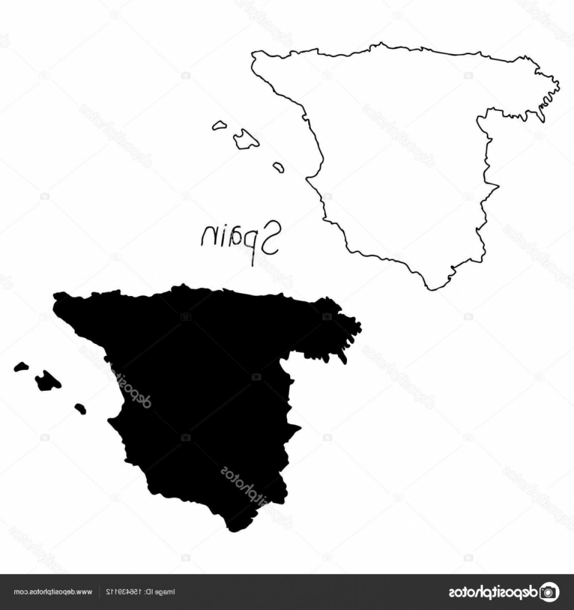 Spain Outline Vector: Stock Illustration Outline And Silhouette Map Of
