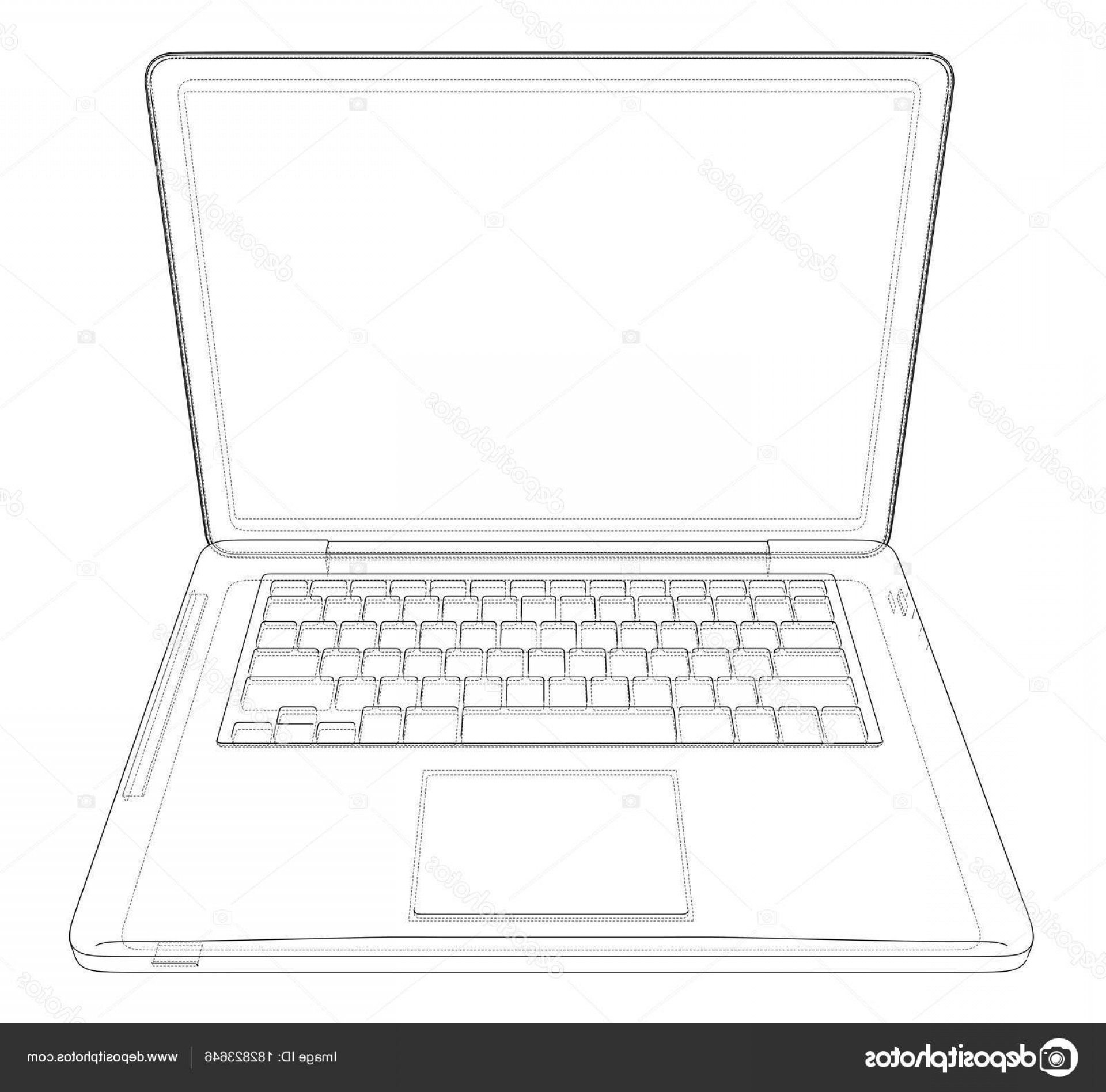 Laptop Vector Frame: Stock Illustration Outline Drawing Laptop Vector Illustration