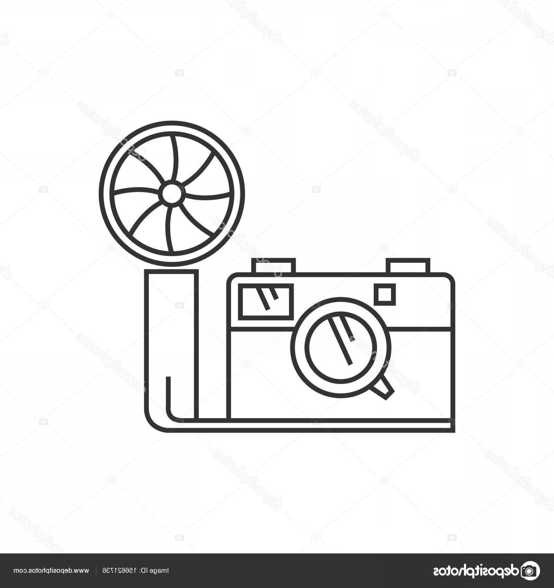 Camera Outline Vector Graphic: Stock Illustration Outline Icon Vintage Camera