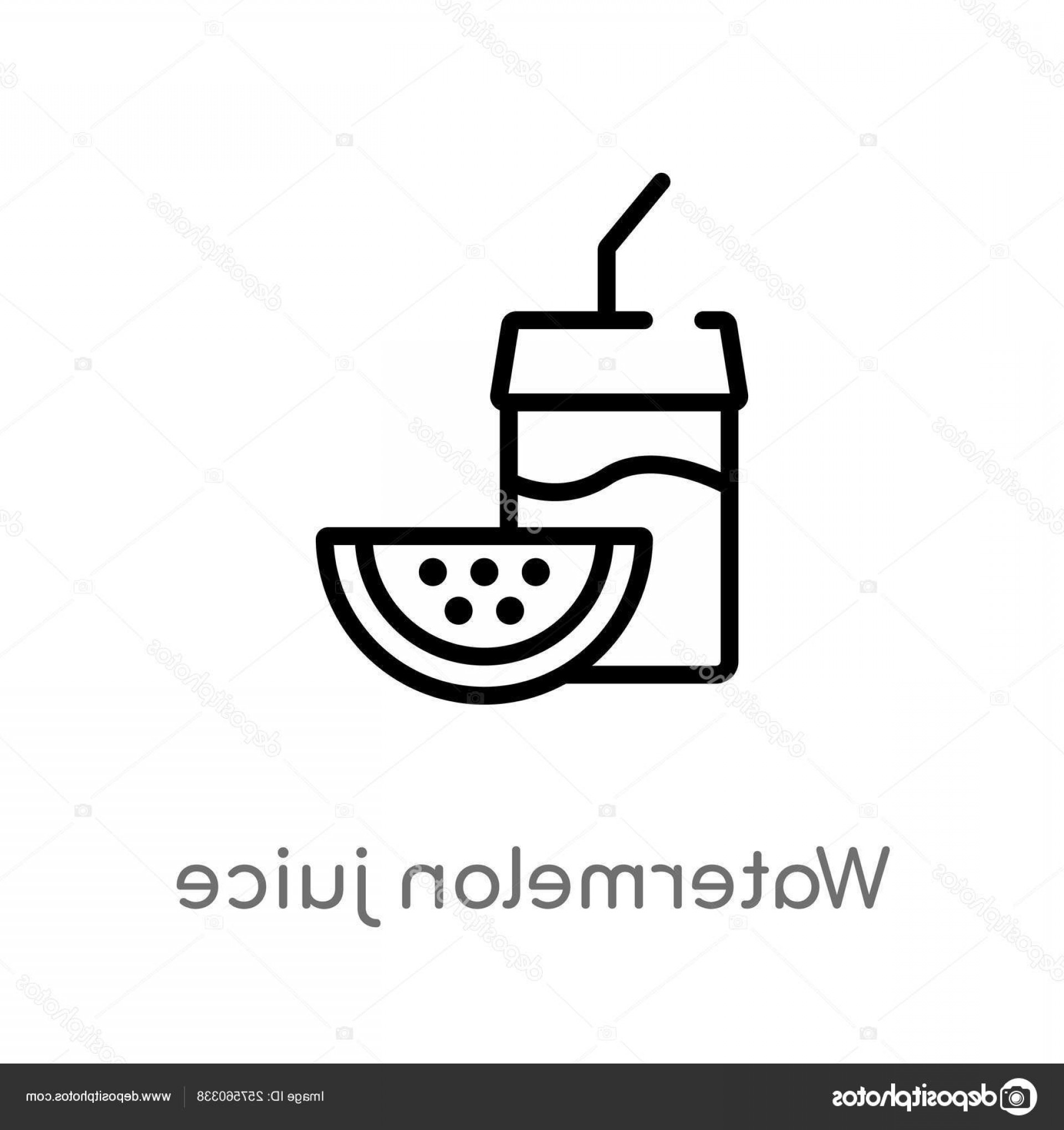 Juice Vector Black: Stock Illustration Outline Watermelon Juice Vector Icon