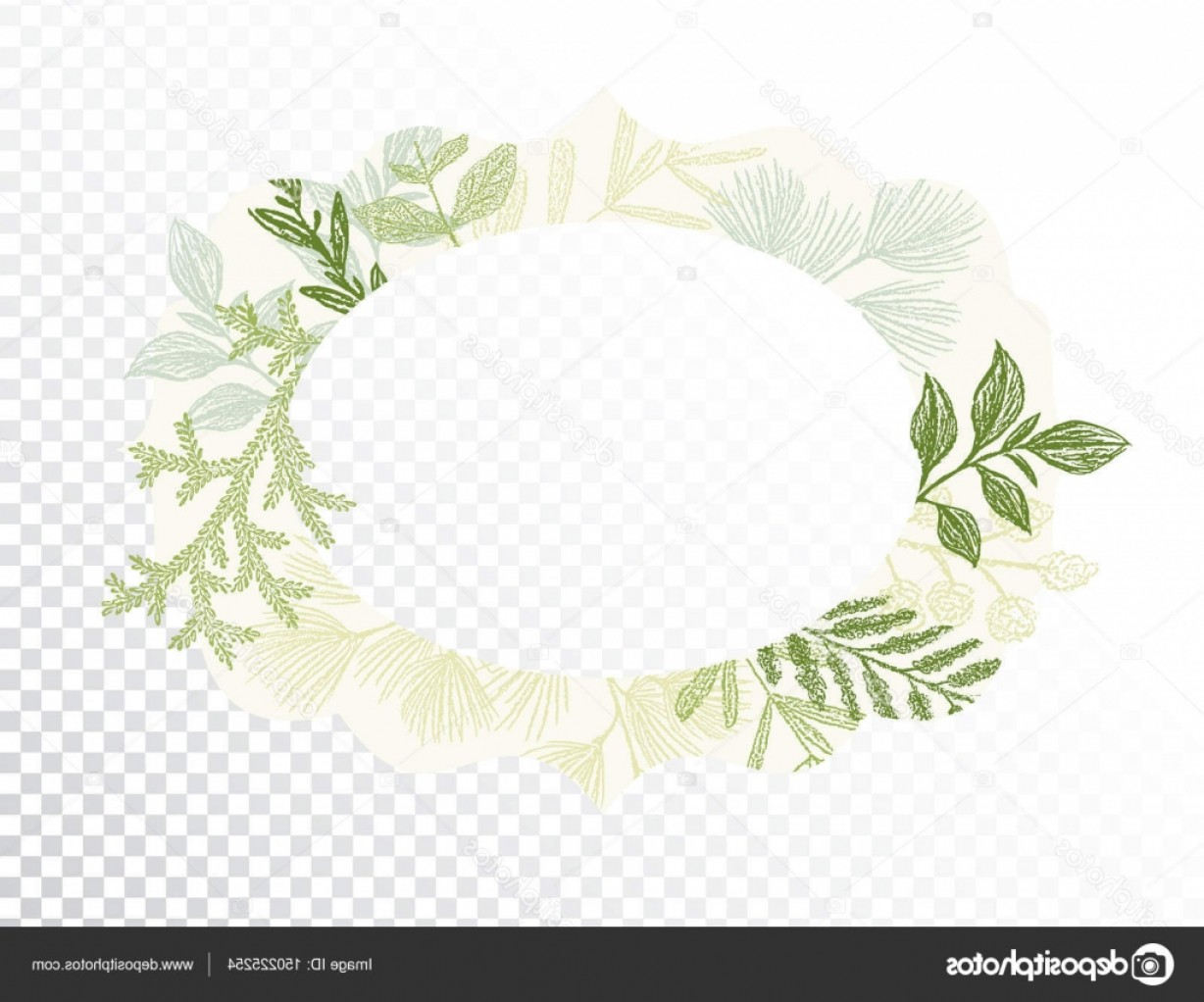Green Oval Border Vector: Stock Illustration Oval Border With Branches And