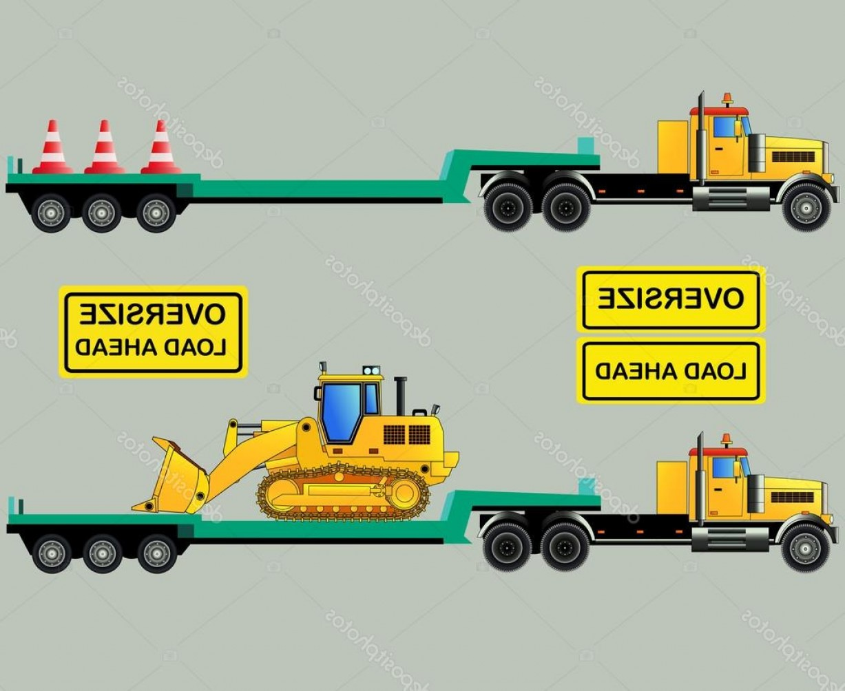 Vector Truck And Trailer Hauling: Stock Illustration Oversize Load Truck And Trailers