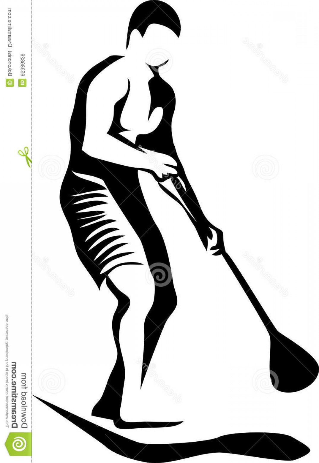 Stand Up Paddle Boarder Vector: Stock Illustration Paddleboard Stylized Black White Vector Illustration Image