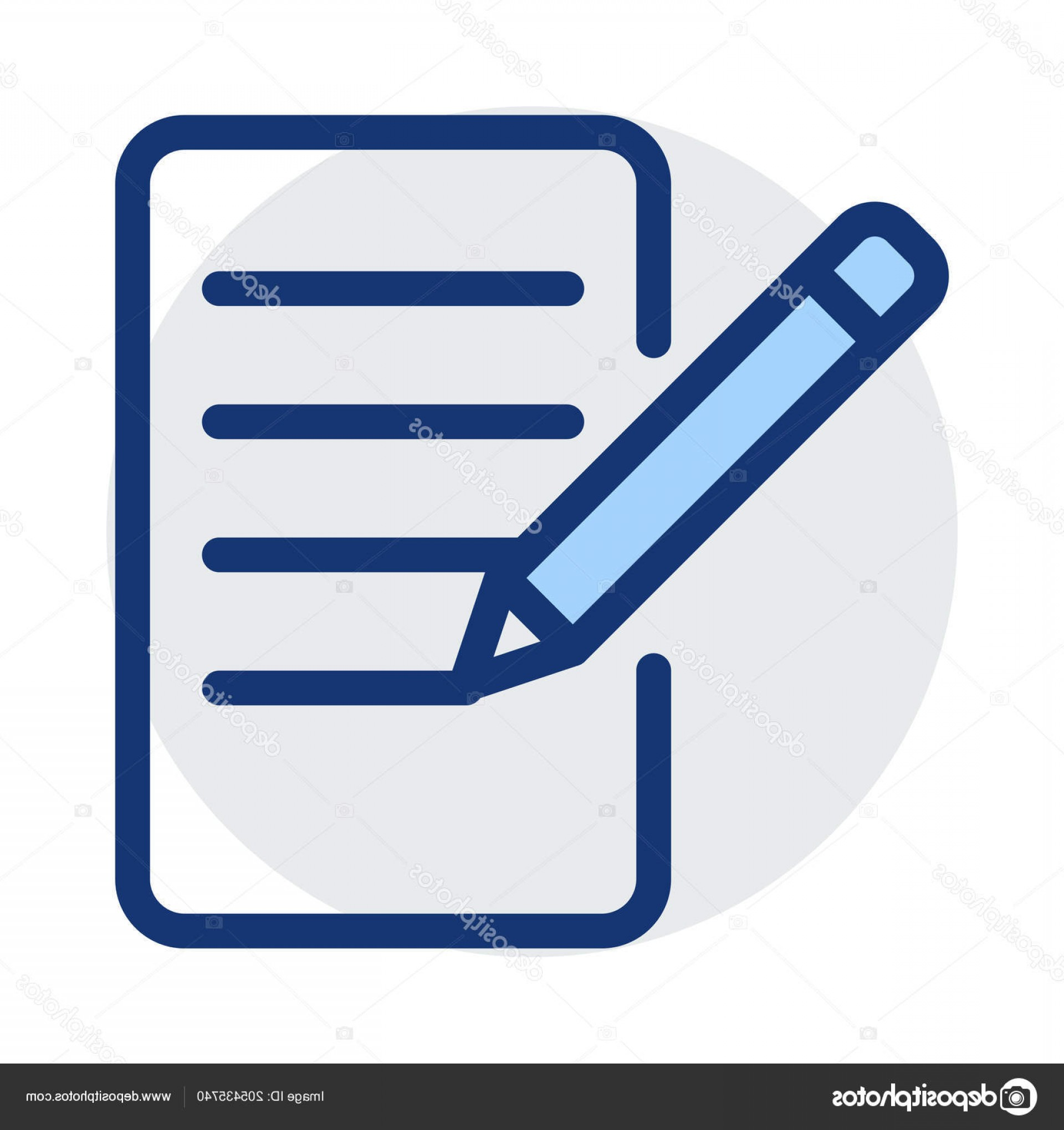 Paper And Pencil Icon Vector: Stock Illustration Paper Pencil Icon Vector Illustration