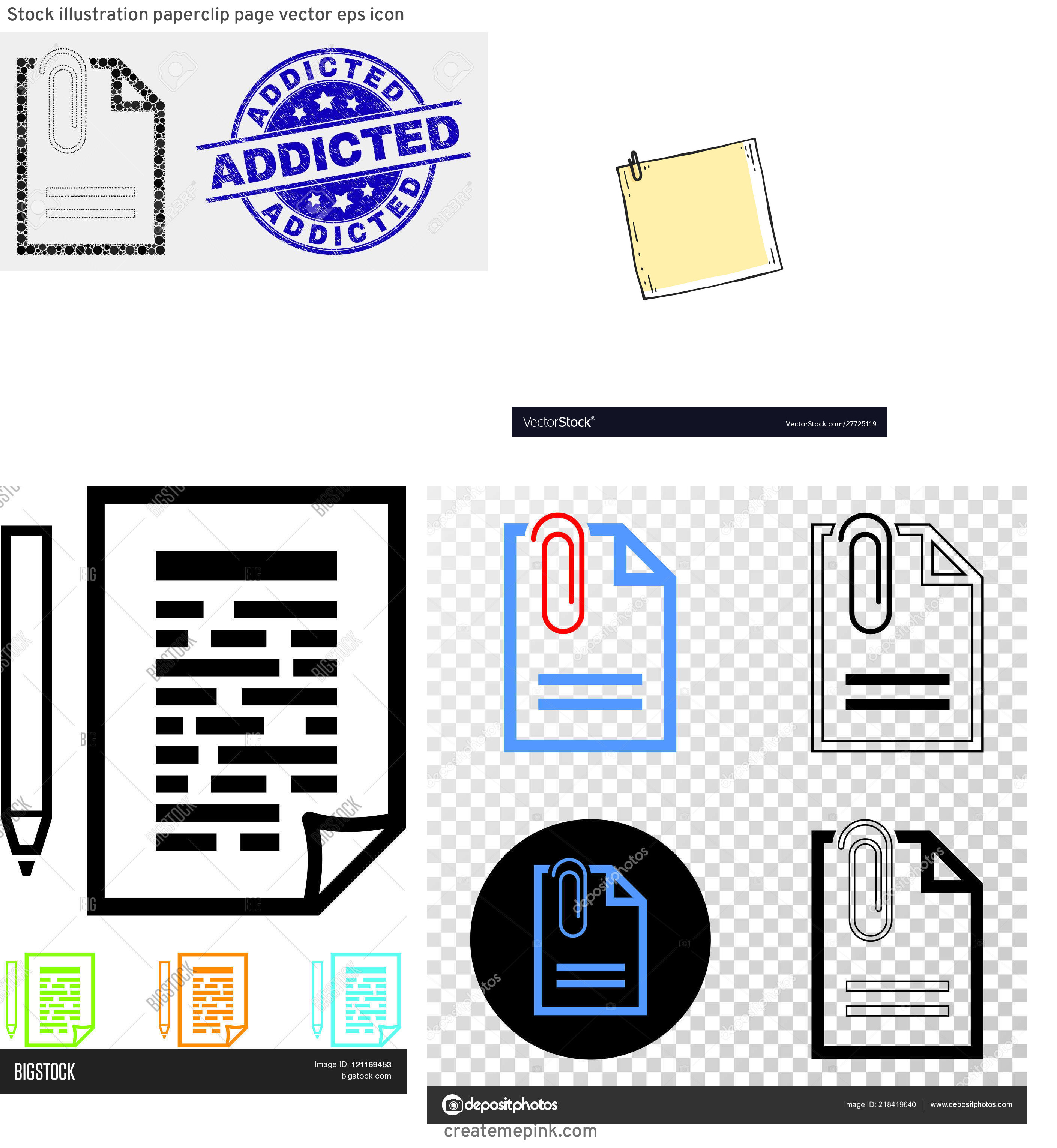 Vector Paper Clip On Page: Stock Illustration Paperclip Page Vector Eps Icon