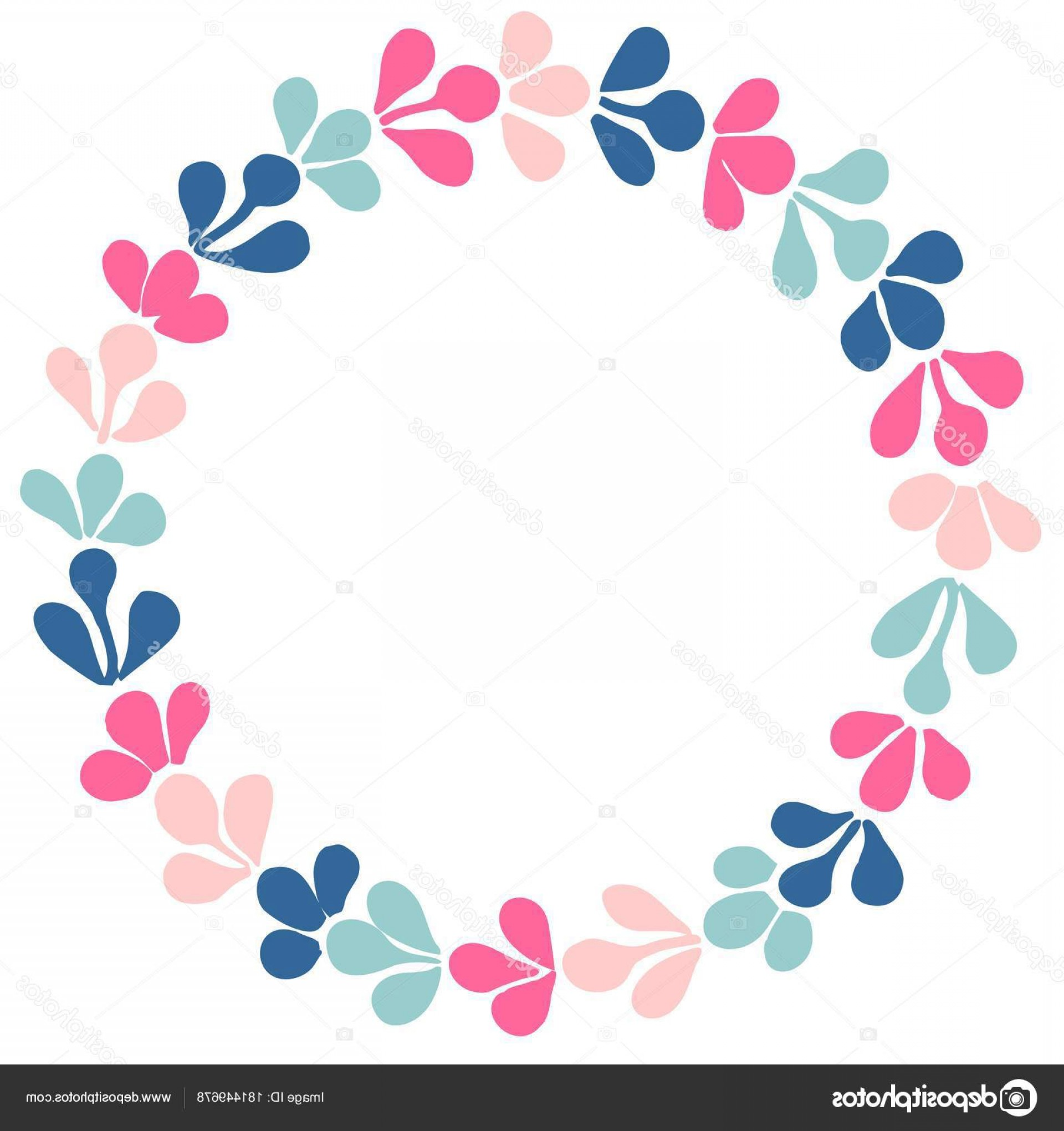 Floral Laurel Wreath Vector: Stock Illustration Pastel Laurel Wreath Vector Frame