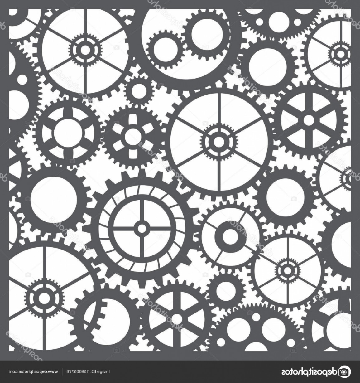 Vector Mechanical Clock Wheels: Stock Illustration Pattern Silhouette Cut Gears