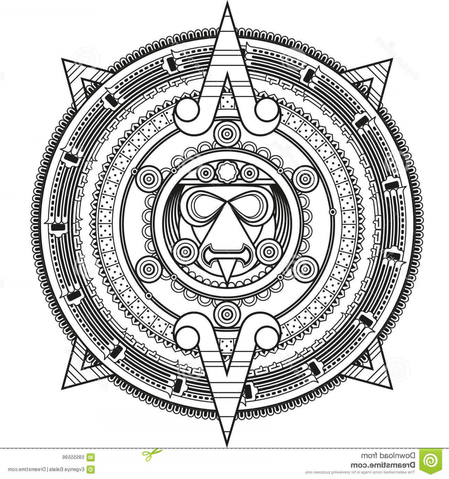 Mayan Vector: Stock Illustration Patterned Circle Style Maya Vector Illustration Image