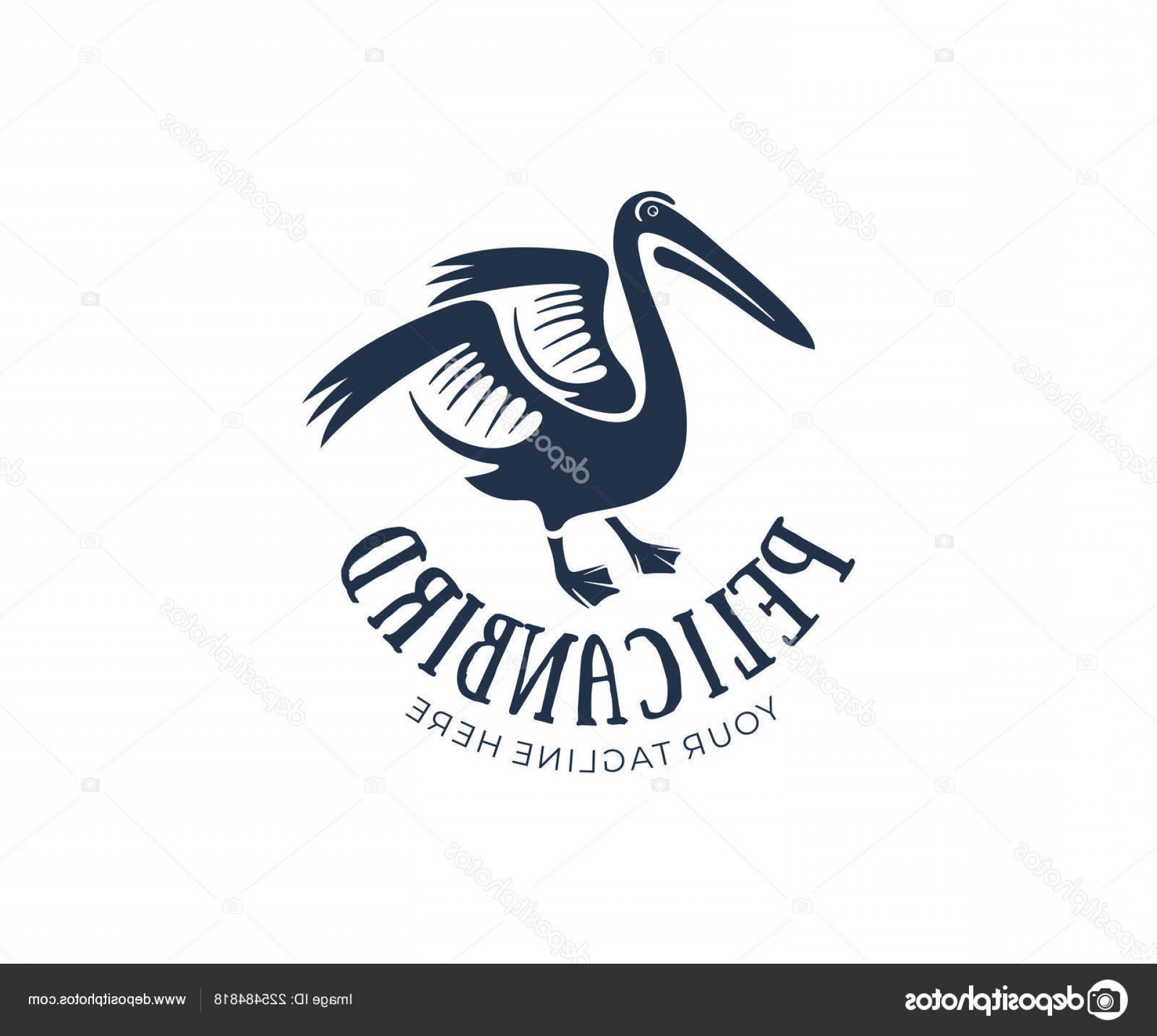 Pelican Vector Wings: Stock Illustration Pelican Bird Raised Wings Logo
