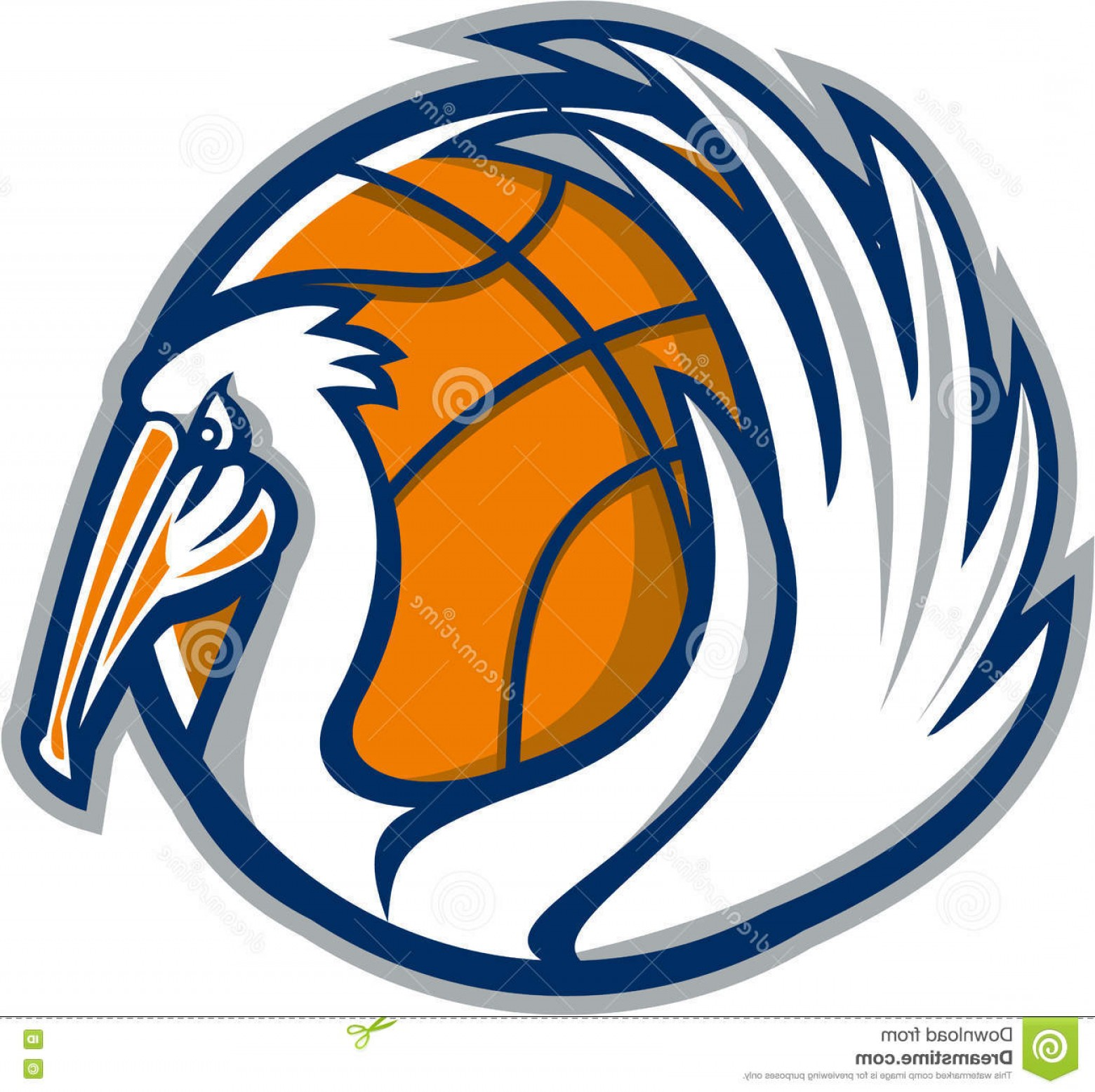 Pelican Vector Wings: Stock Illustration Pelican Wings Basketball Retro Illustration Showing Its Background Viewed Side Done Style Image