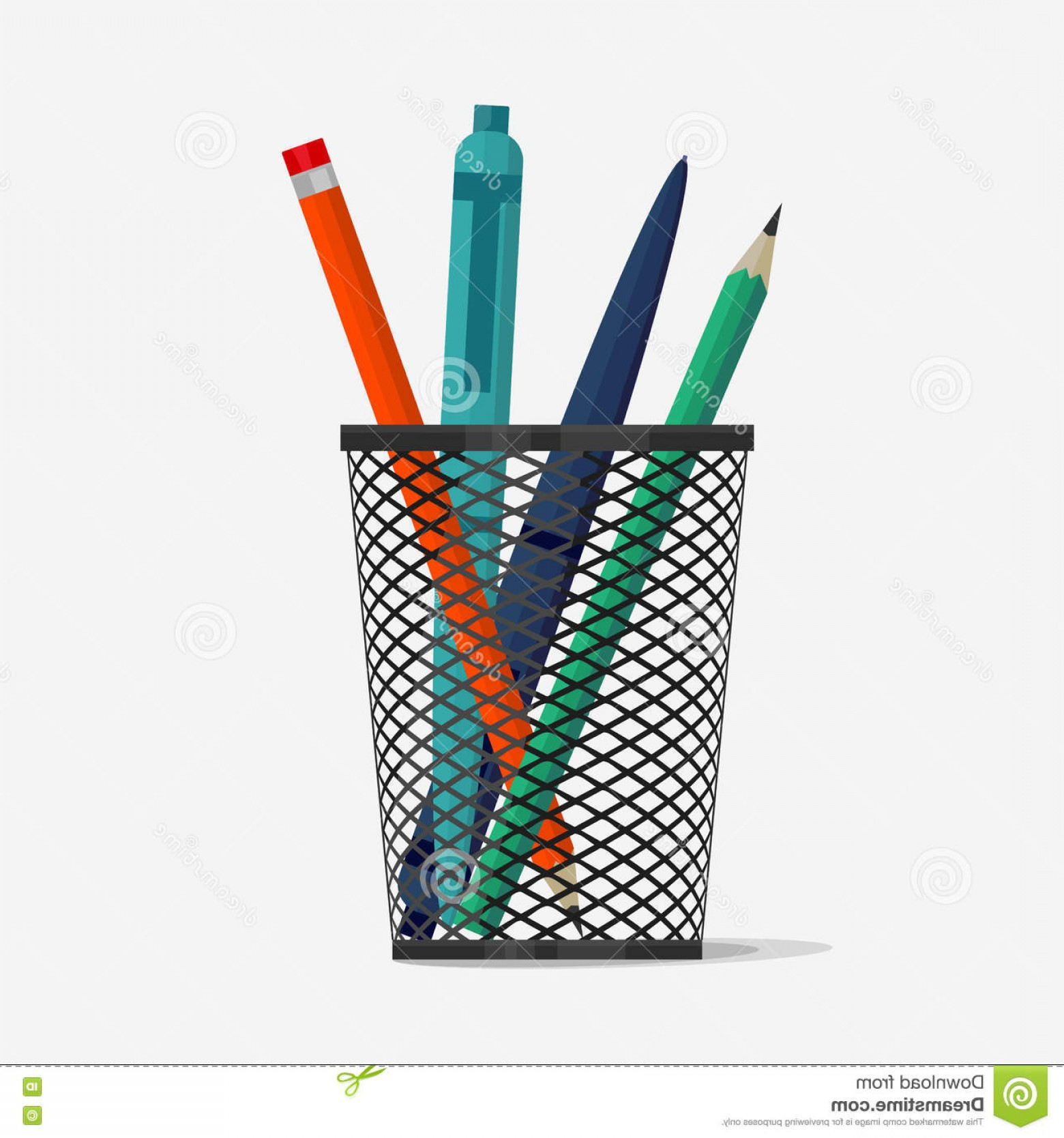 Vector Pencil Holder: Stock Illustration Pen Pencil Holder Basket Office Organizer Box Metal Grid Clerical Vase Vector Image