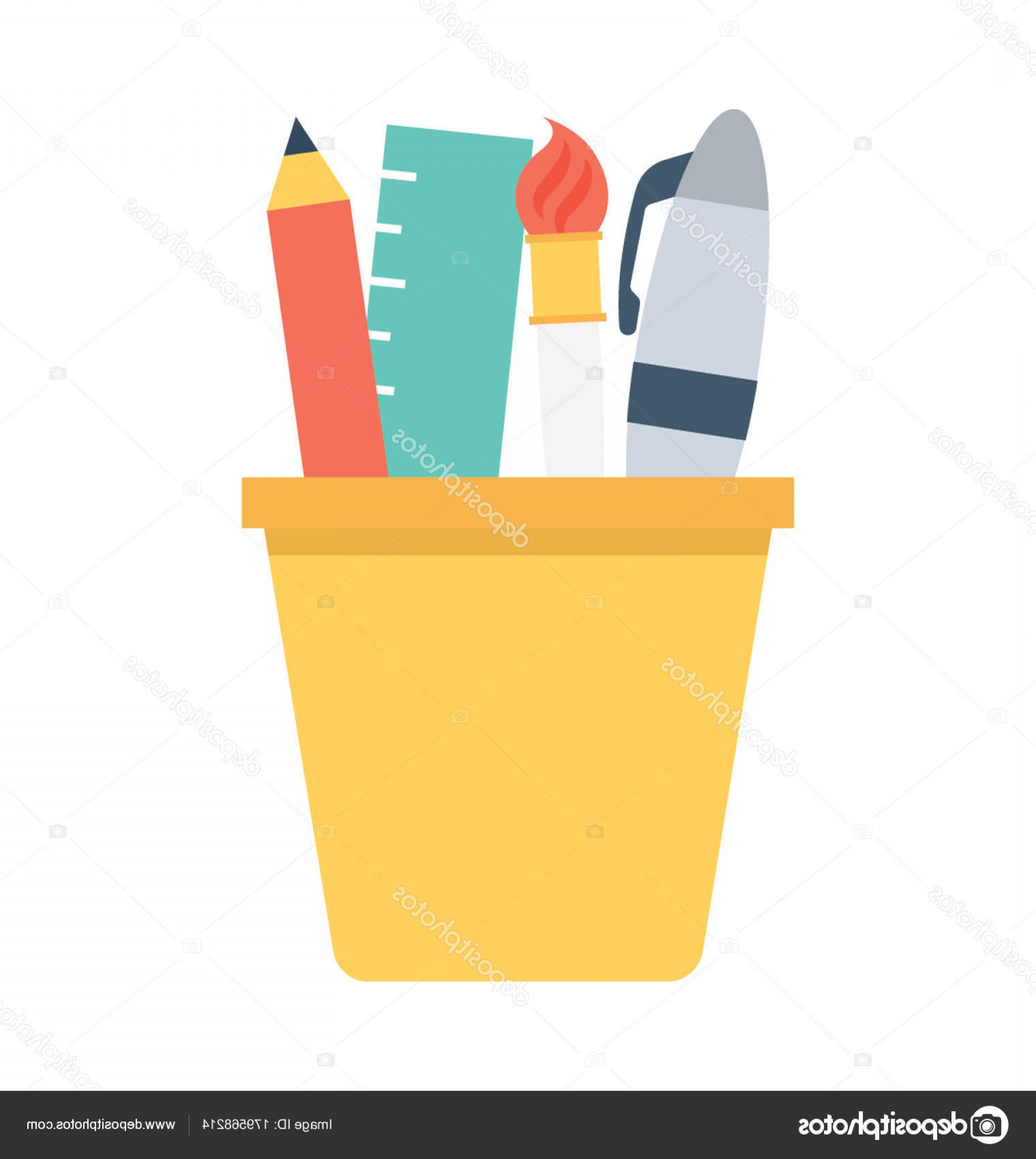 Vector Pencil Holder: Stock Illustration Pencil Case Flat Vector Icon