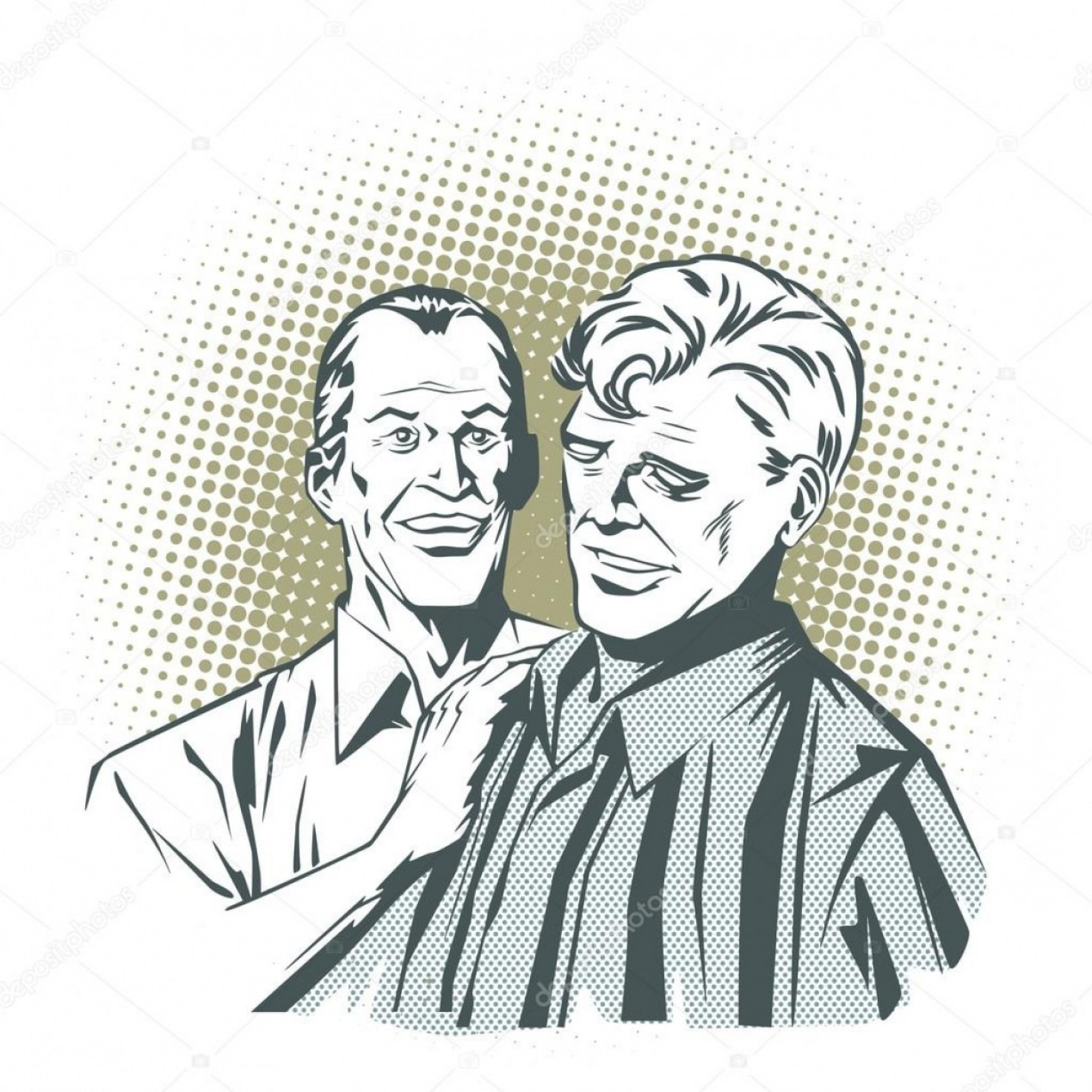 White Retro Vector People: Stock Illustration People In Retro Style Pop