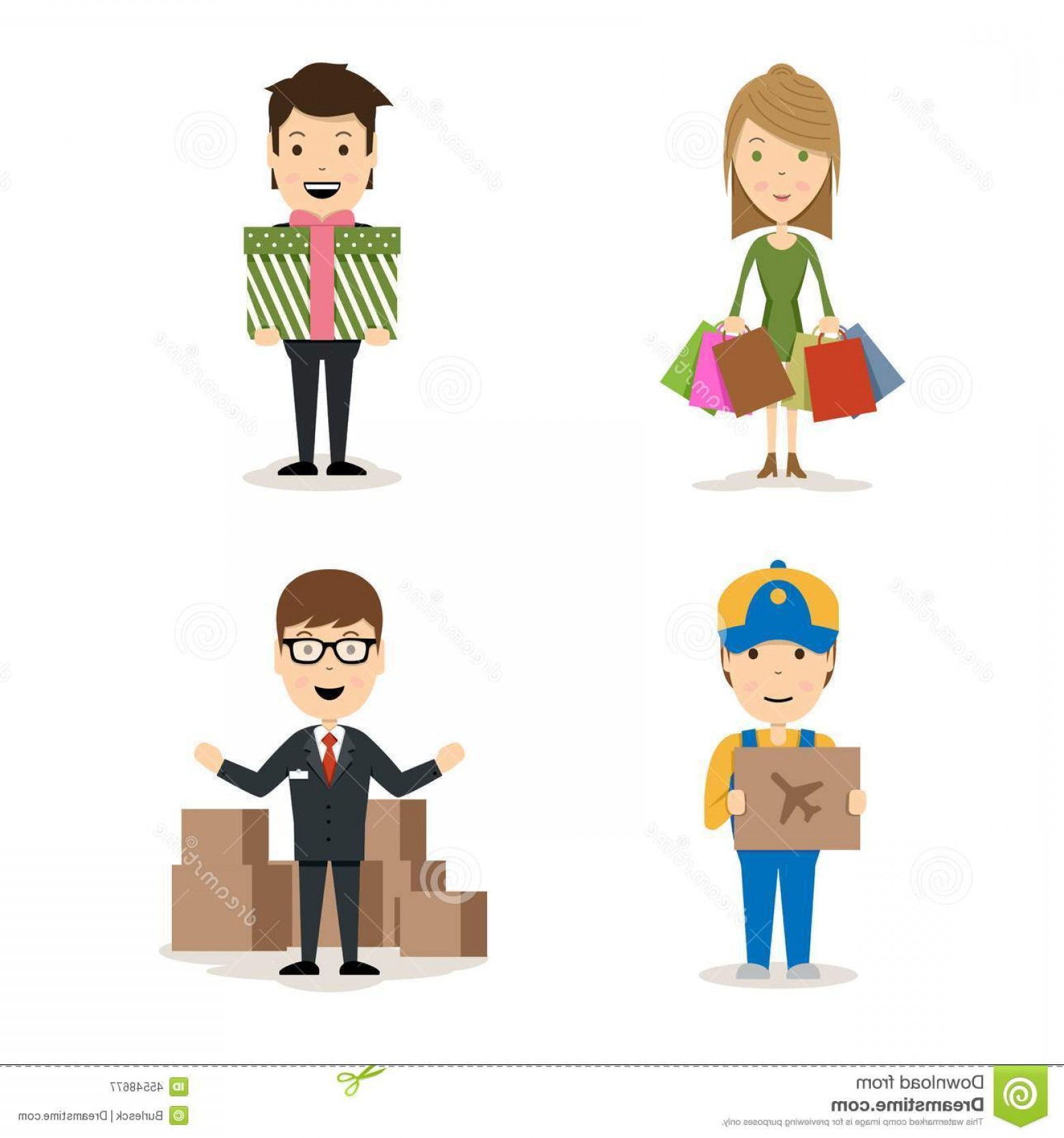 Vector People Man: Stock Illustration People Shopping Vector Characters Woman Bags Man Holding Gift Deliveryman Airfreight Package Image