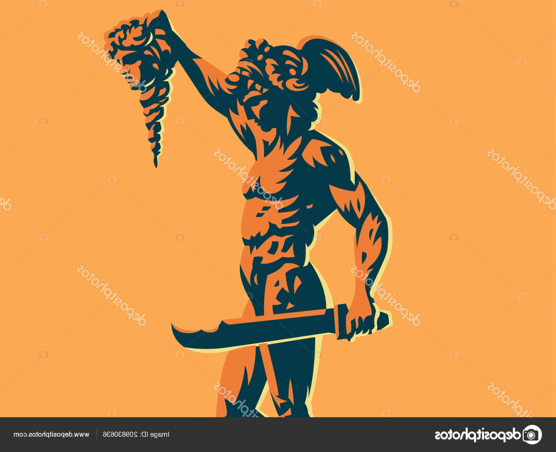 Perseus Vector Logo: Stock Illustration Perseus With The Head Of