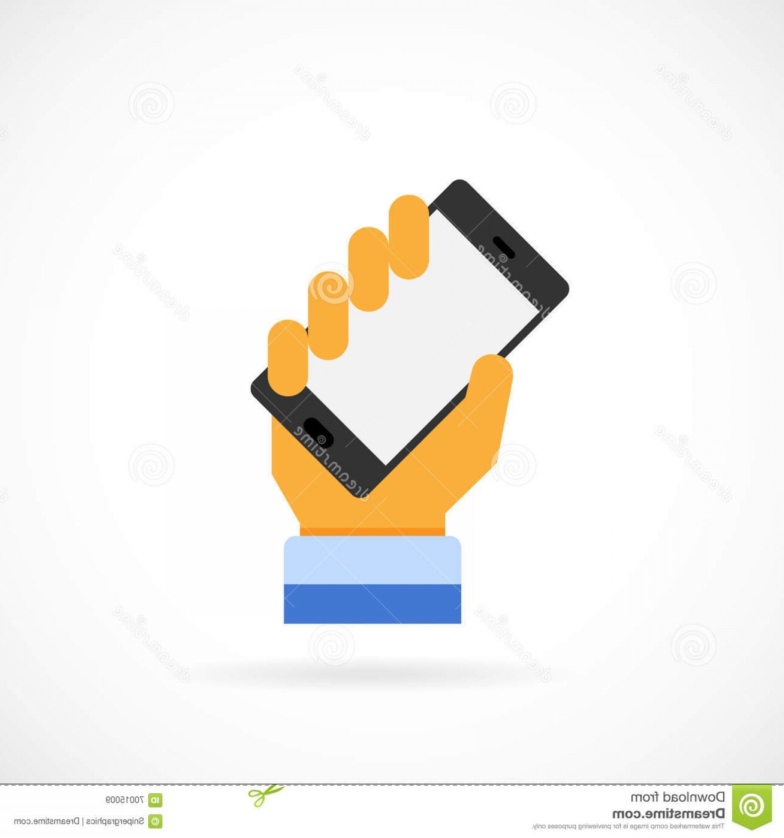 Vector Person Holding: Stock Illustration Person Holding Cell Phone Isolated Vector Icon Image