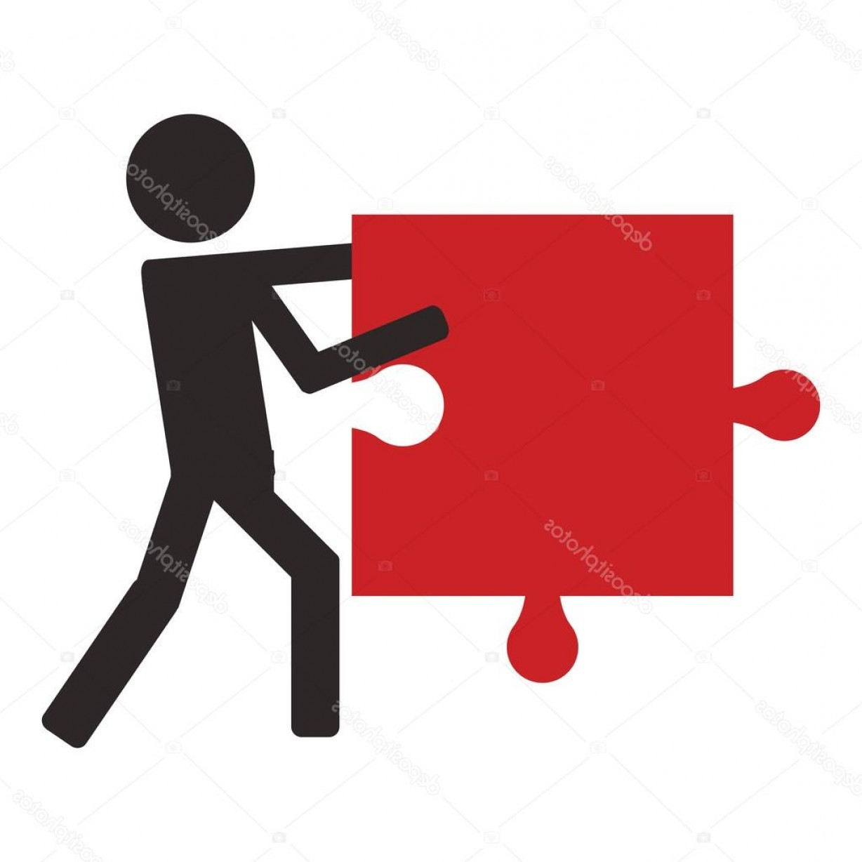 Vector Person Holding: Stock Illustration Person Holding Puzzle Piece Icon