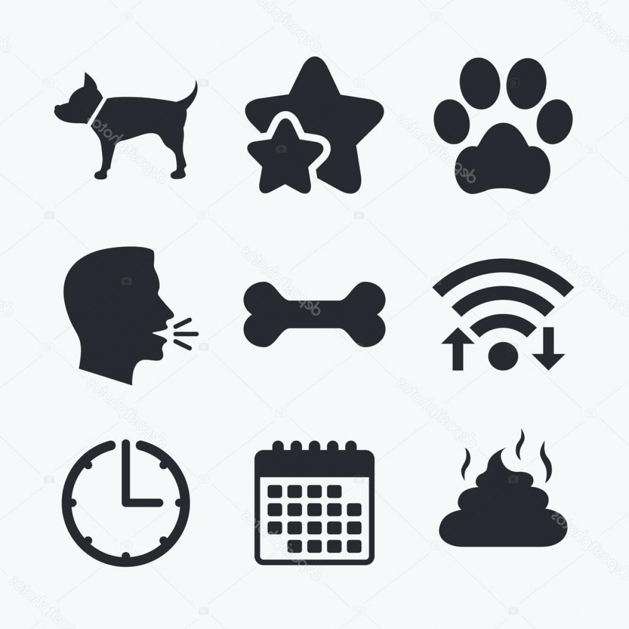 Vector Paw Decals: Stock Illustration Pets Icons Dog Paw And