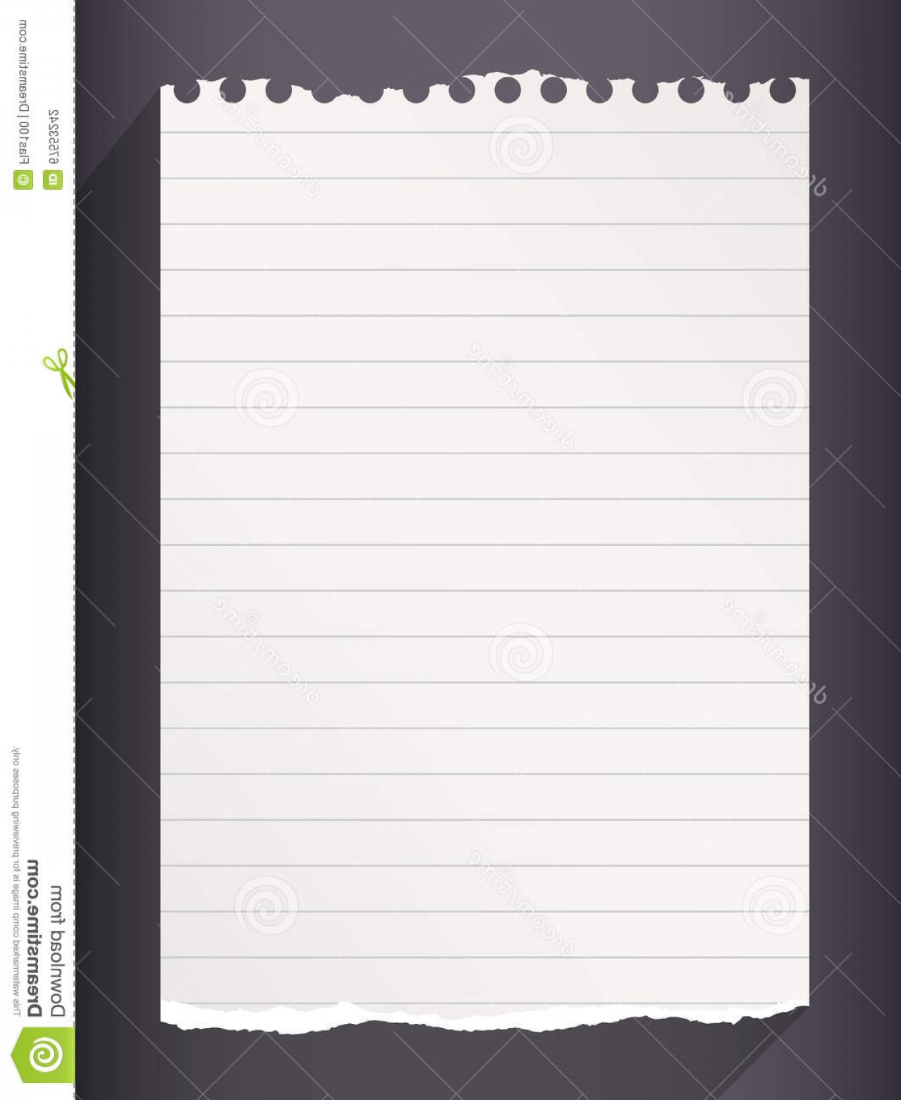 Ripped Black And White Vector: Stock Illustration Piece Torn White Lined Notebook Paper Black Background Image