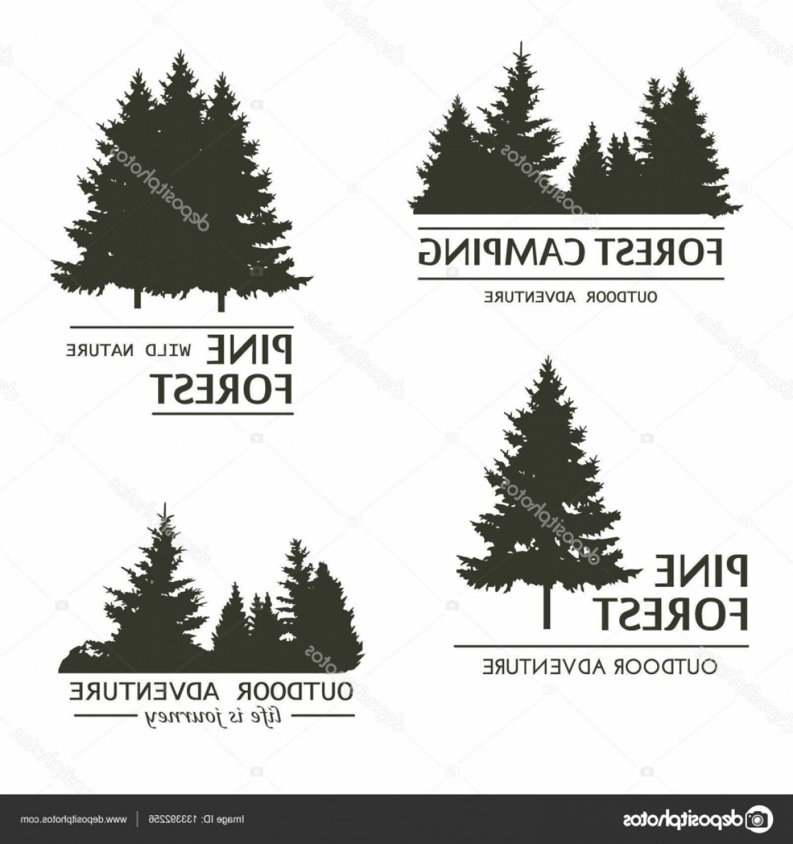 Pine Tree Vector Format: Stock Illustration Pine Tree Forest Silhouette Vector