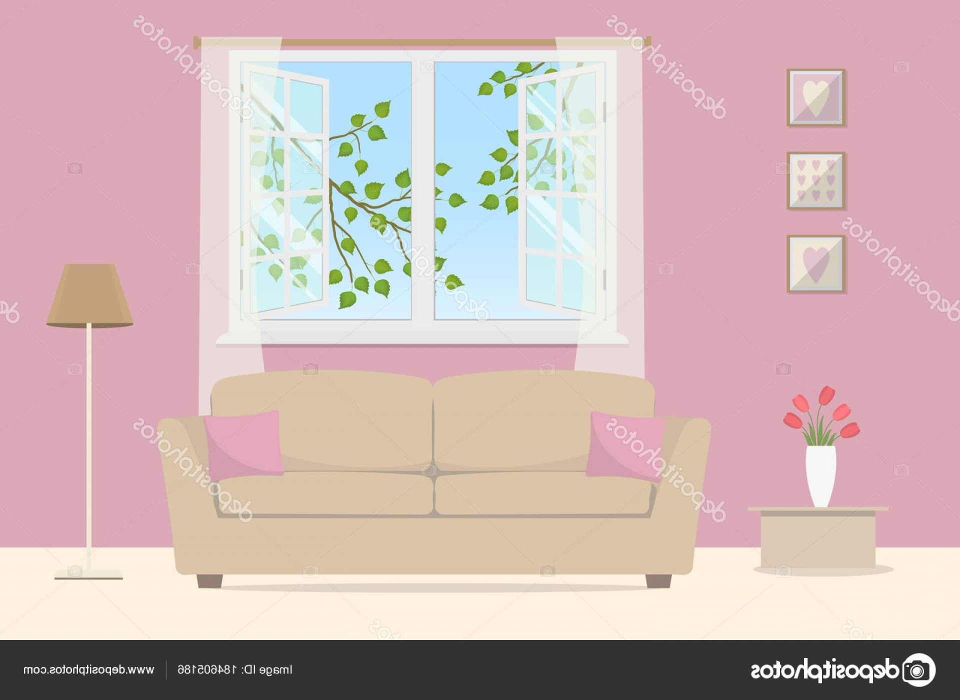 Vector Background For Living Room: Stock Illustration Pink Living Room Beige Sofa