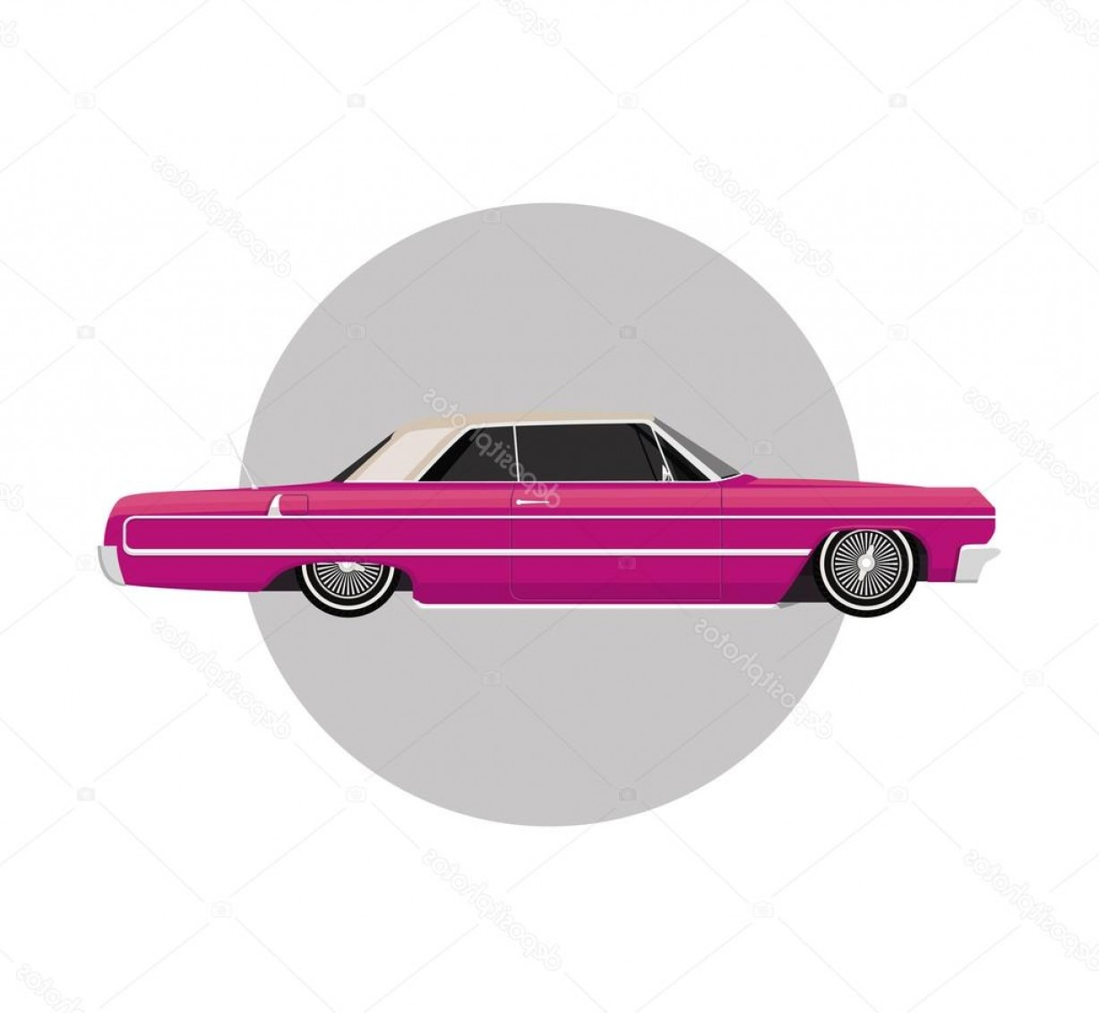Lowrider Vector: Stock Illustration Pink Lowrider On Gray Round
