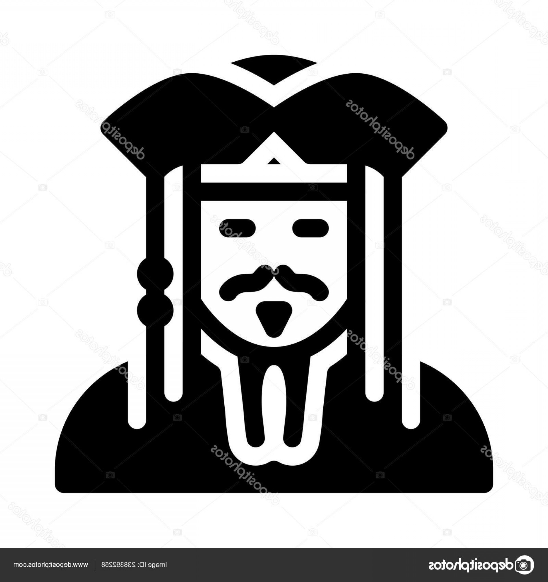 Jack Sparrow Vector Logo: Stock Illustration Pirate Jack Sparrow Simple Black