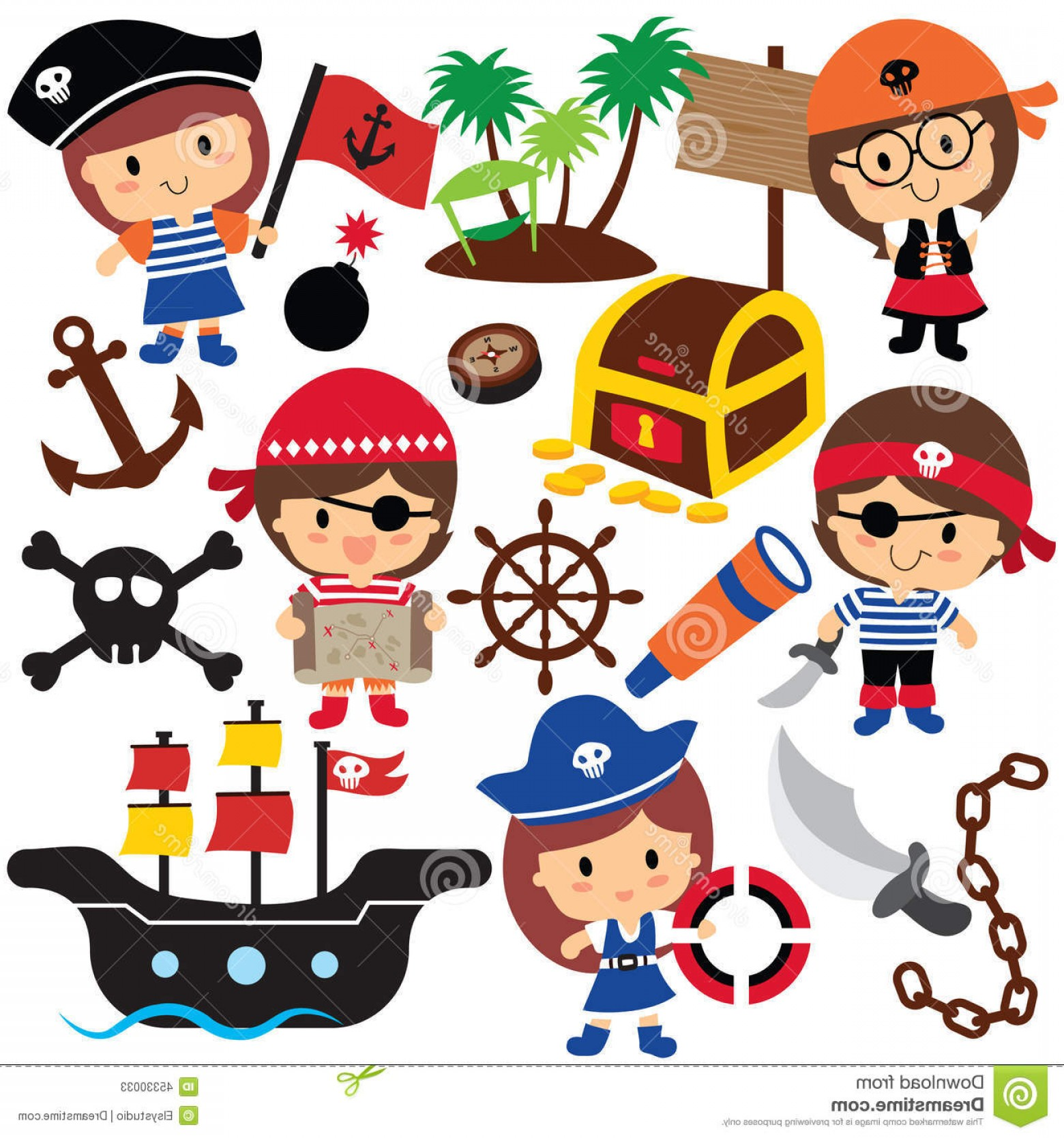 Cartoon Pirate Vector Art: Stock Illustration Pirates Kids Clip Art Vector File Can Be Scaled To Any Sizes Losing Resolution Image