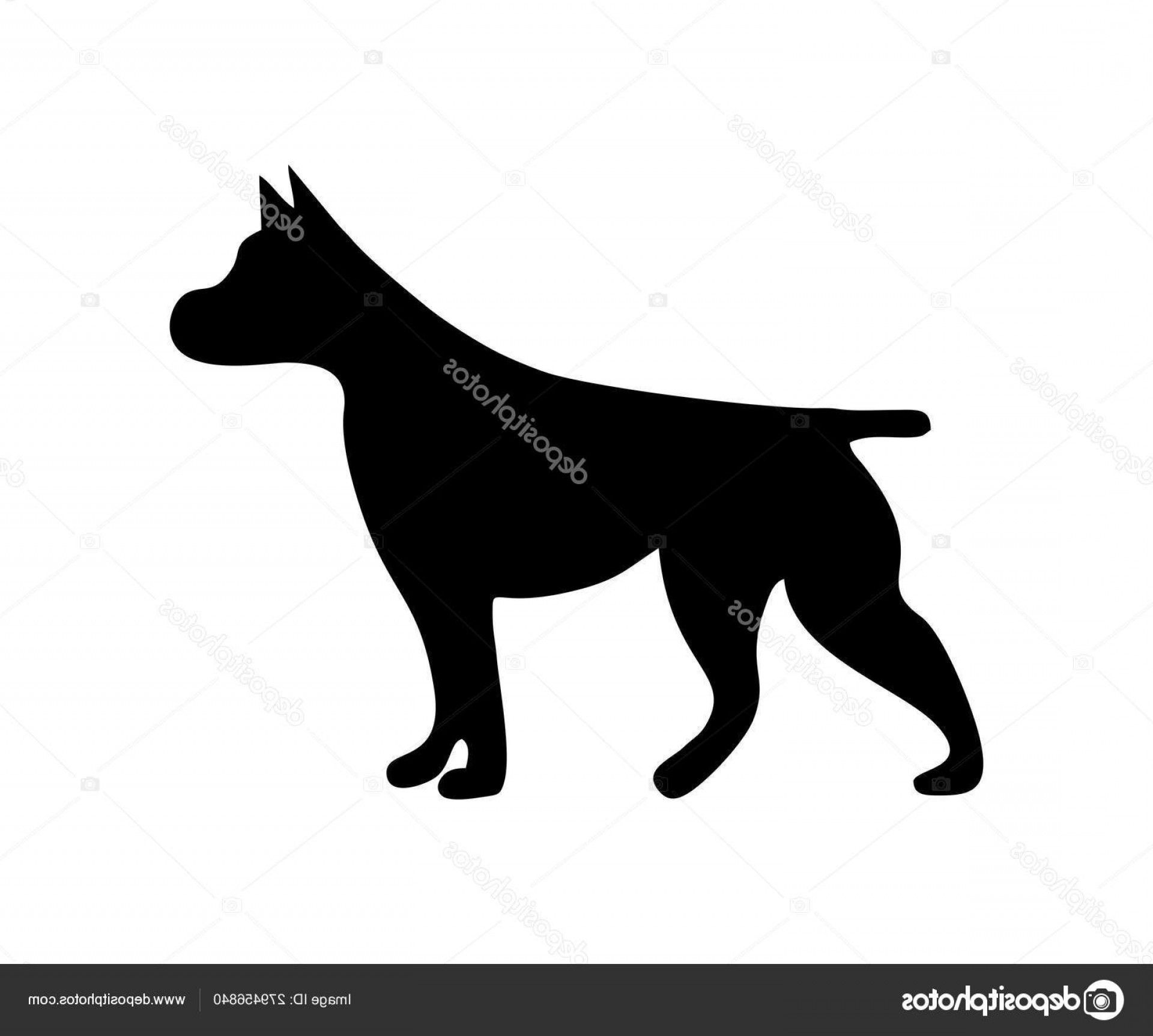 Pit Silhouette Vector: Stock Illustration Pit Bull Icon Dog Standing