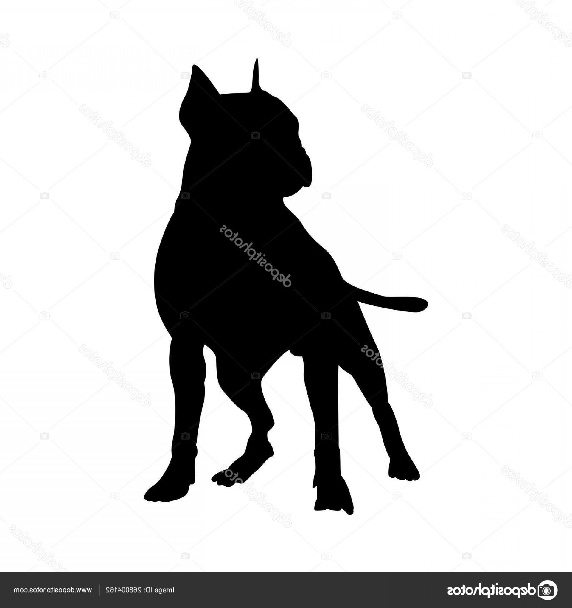 Pit Silhouette Vector: Stock Illustration Pit Bull Terrier Dog Silhouette