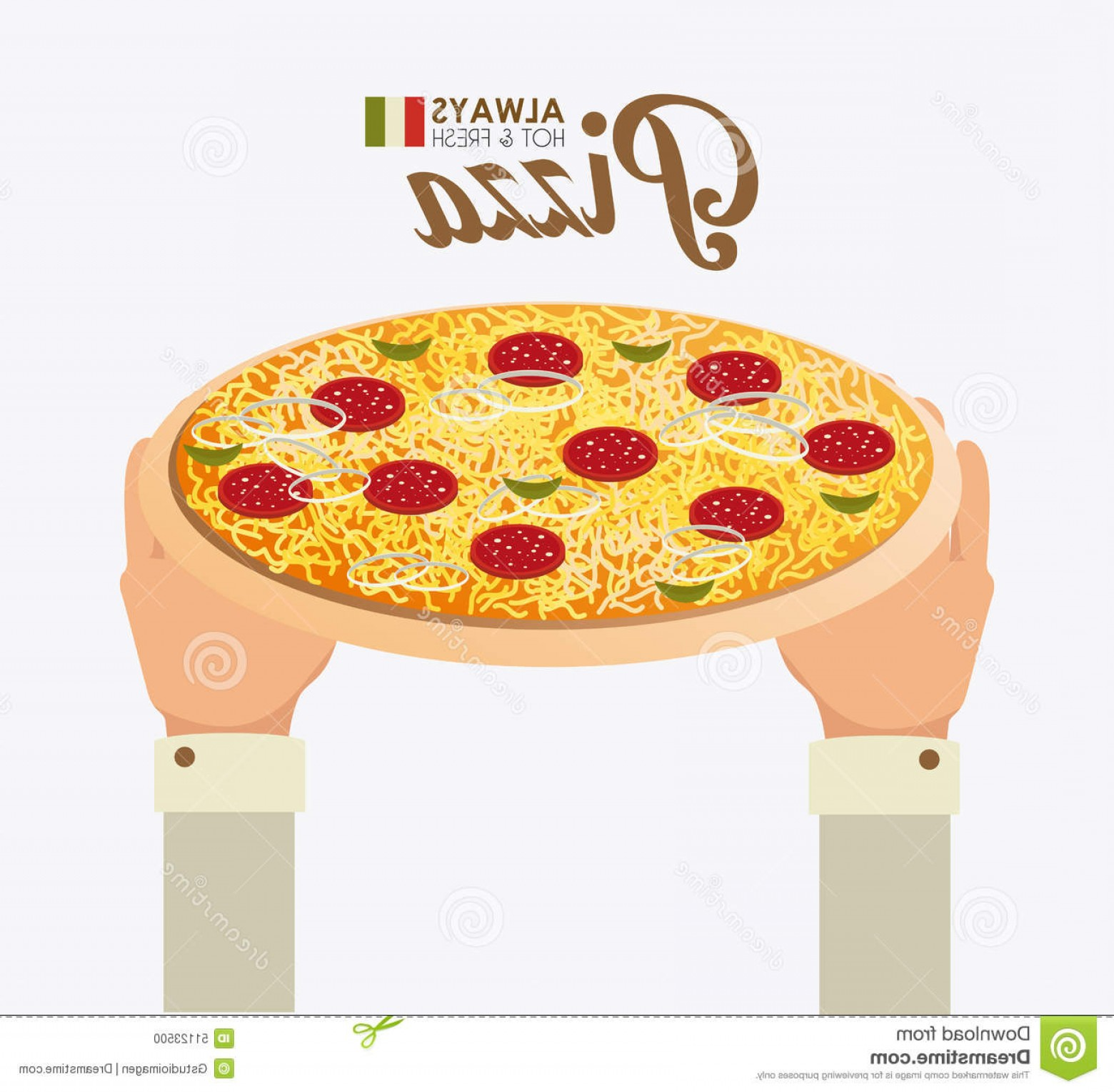 California Lifestyle Vector: Stock Illustration Pizza Design Vector Illustration Graphic Image