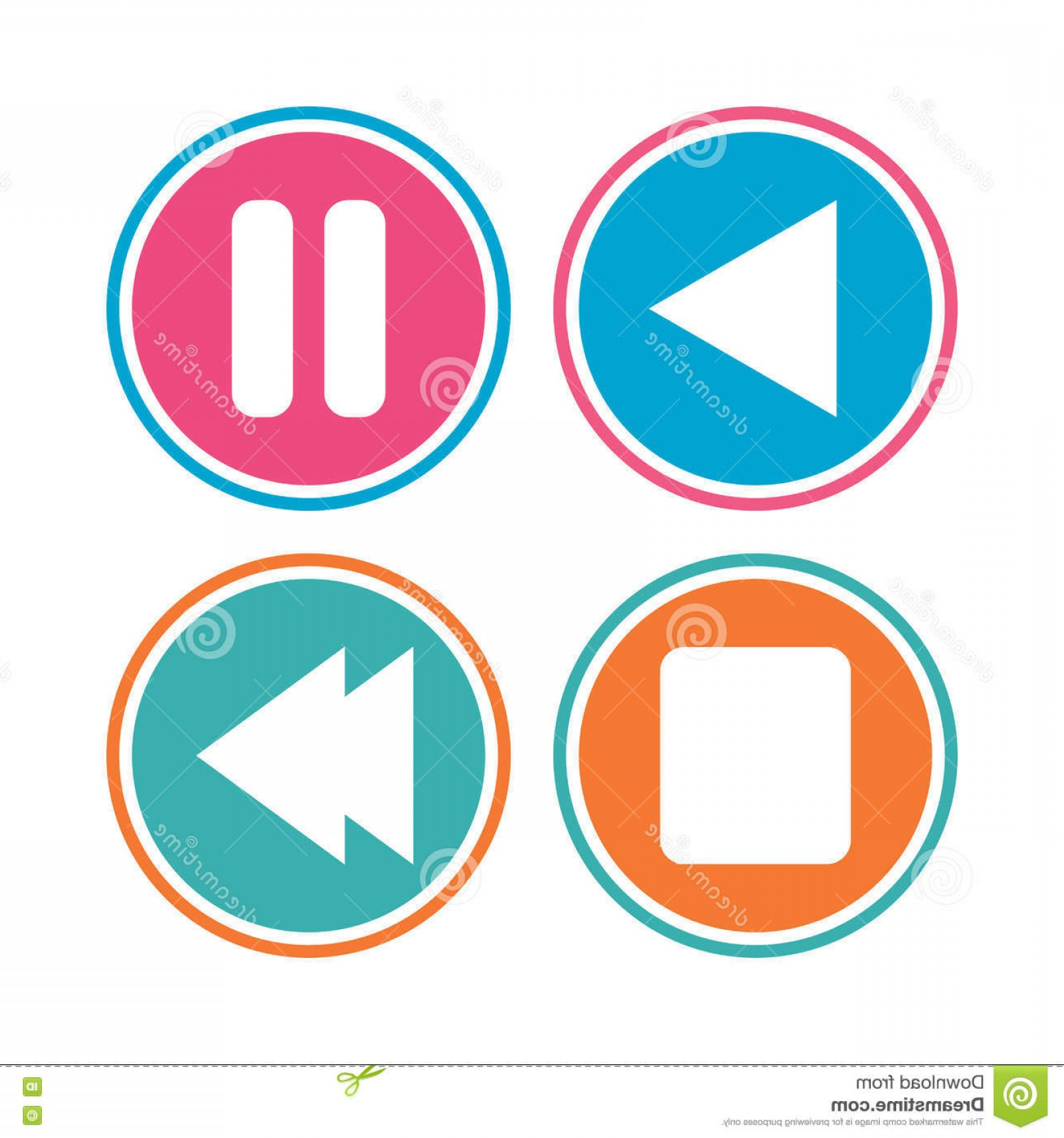 Pause Symbol Vector: Stock Illustration Player Navigation Icons Play Stop Pause Signs Next Song Symbol Colored Circle Buttons Vector Image
