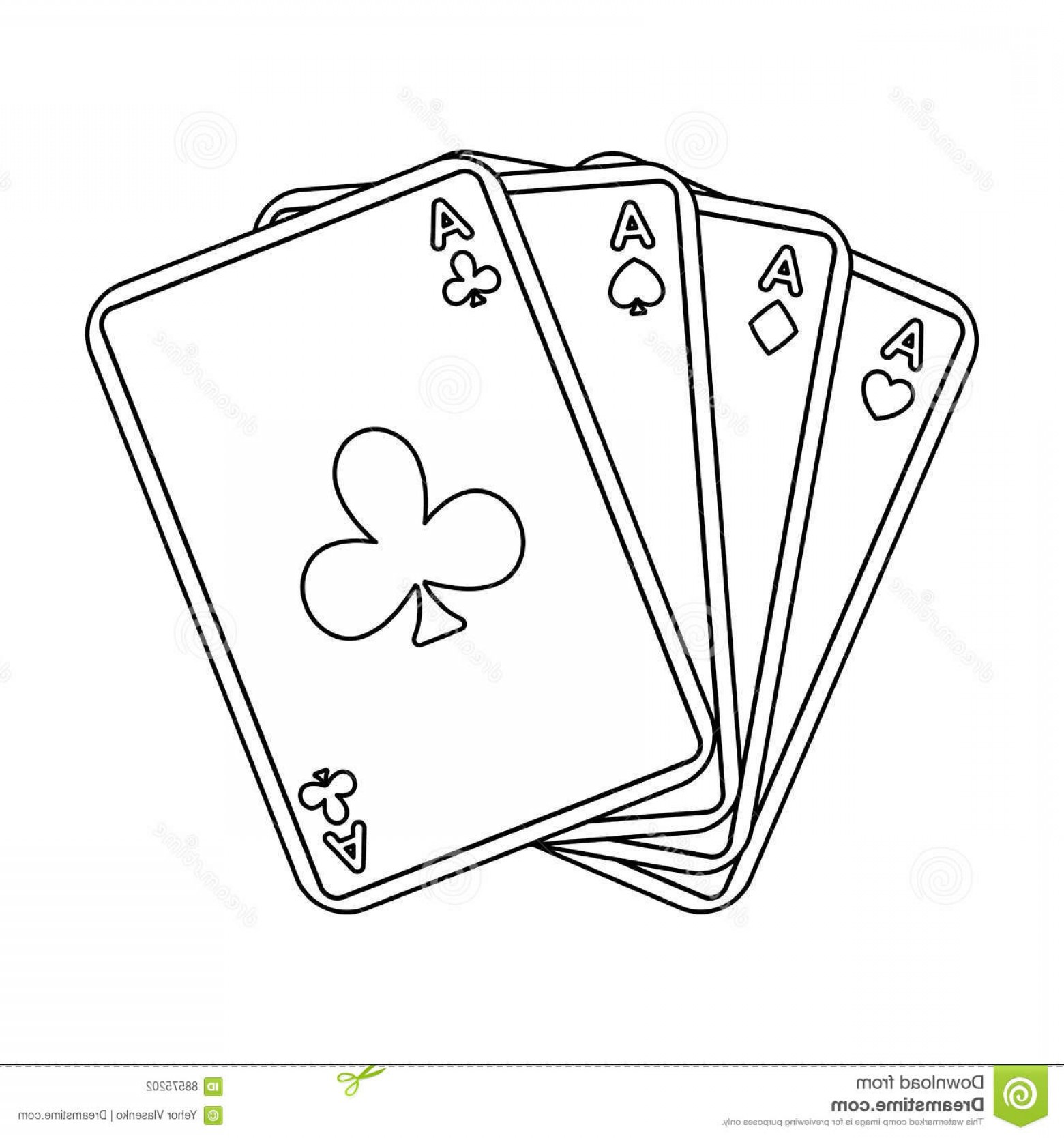 Single Playing Card Vector: Stock Illustration Playing Plastic Cards Playing Poker Casino Popular Game Single Icon Outline Style Vector Symbol Image