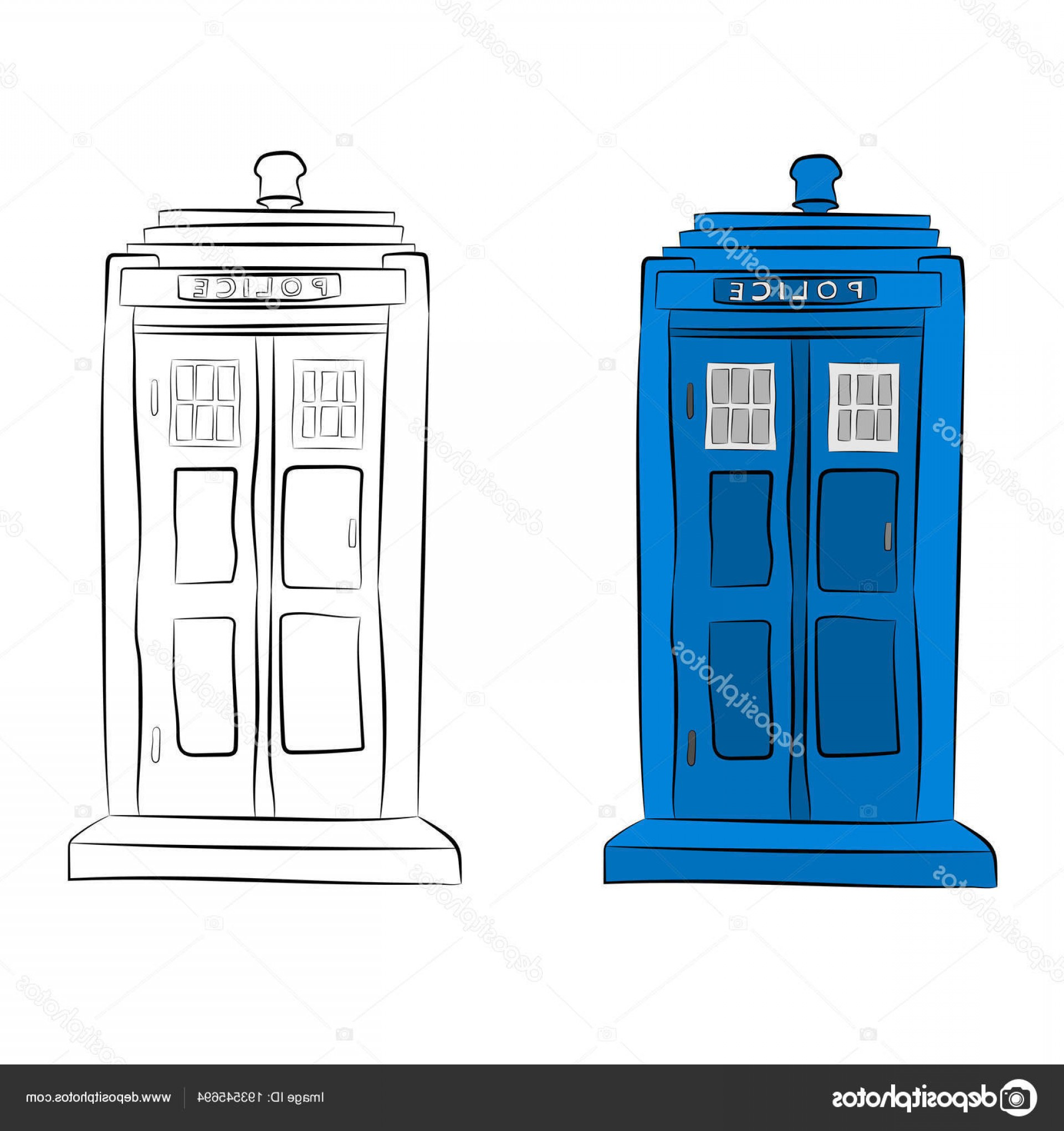 Vector Police Box: Stock Illustration Police Box Contour Drawing In