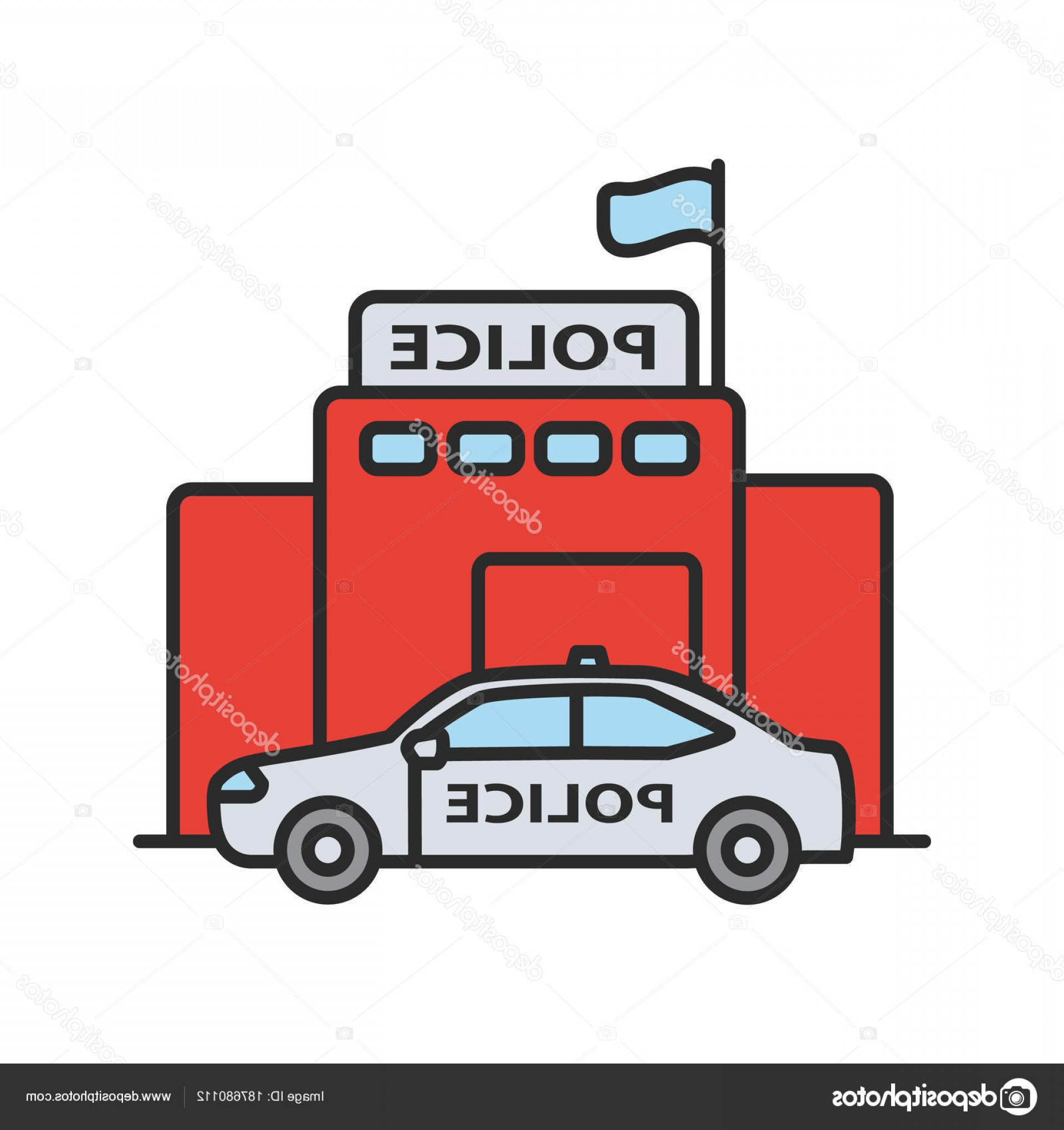 Vector Police Department: Stock Illustration Police Department Building Color Icon
