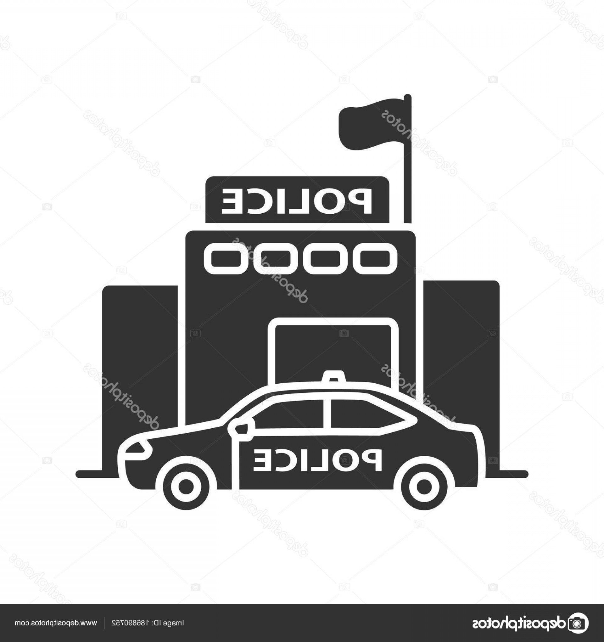 Vector Police Department: Stock Illustration Police Department Building Glyph Icon