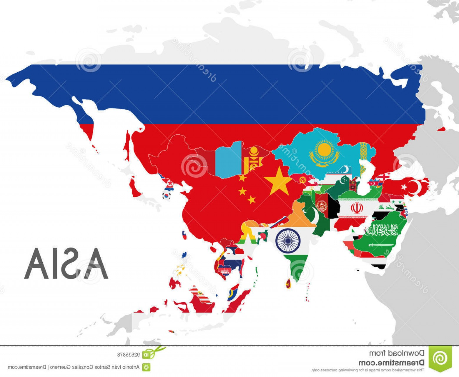 Adding Vectors Lab Map: Stock Illustration Political Asia Map Vector Illustration Flags All Asian Countries Editable Clearly Labeled Layers Image
