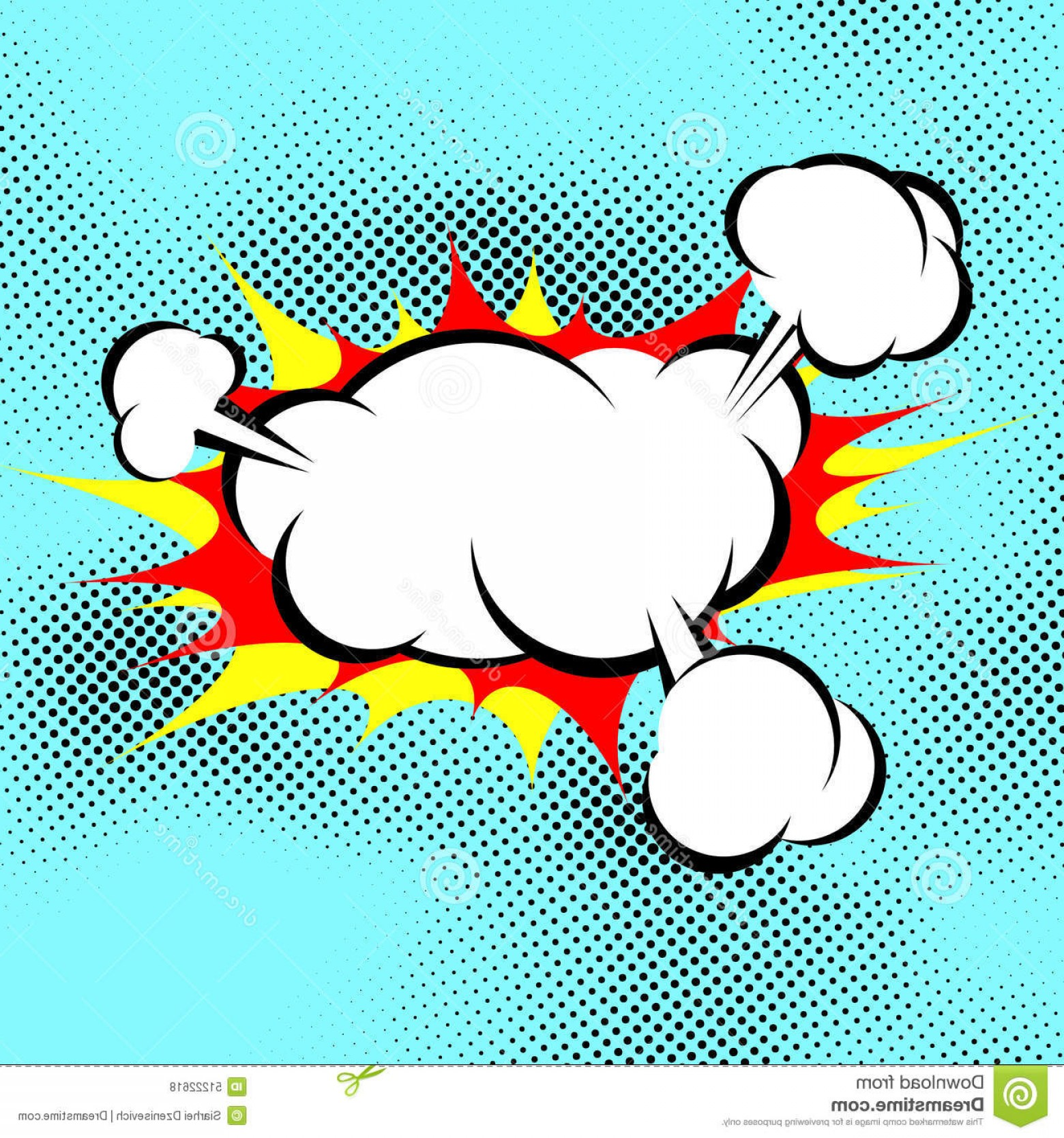 Comic Book Vector Graphics: Stock Illustration Pop Art Explosion Boom Cloud Comic Book Background Over Dotted Blue Vector Illustration Image
