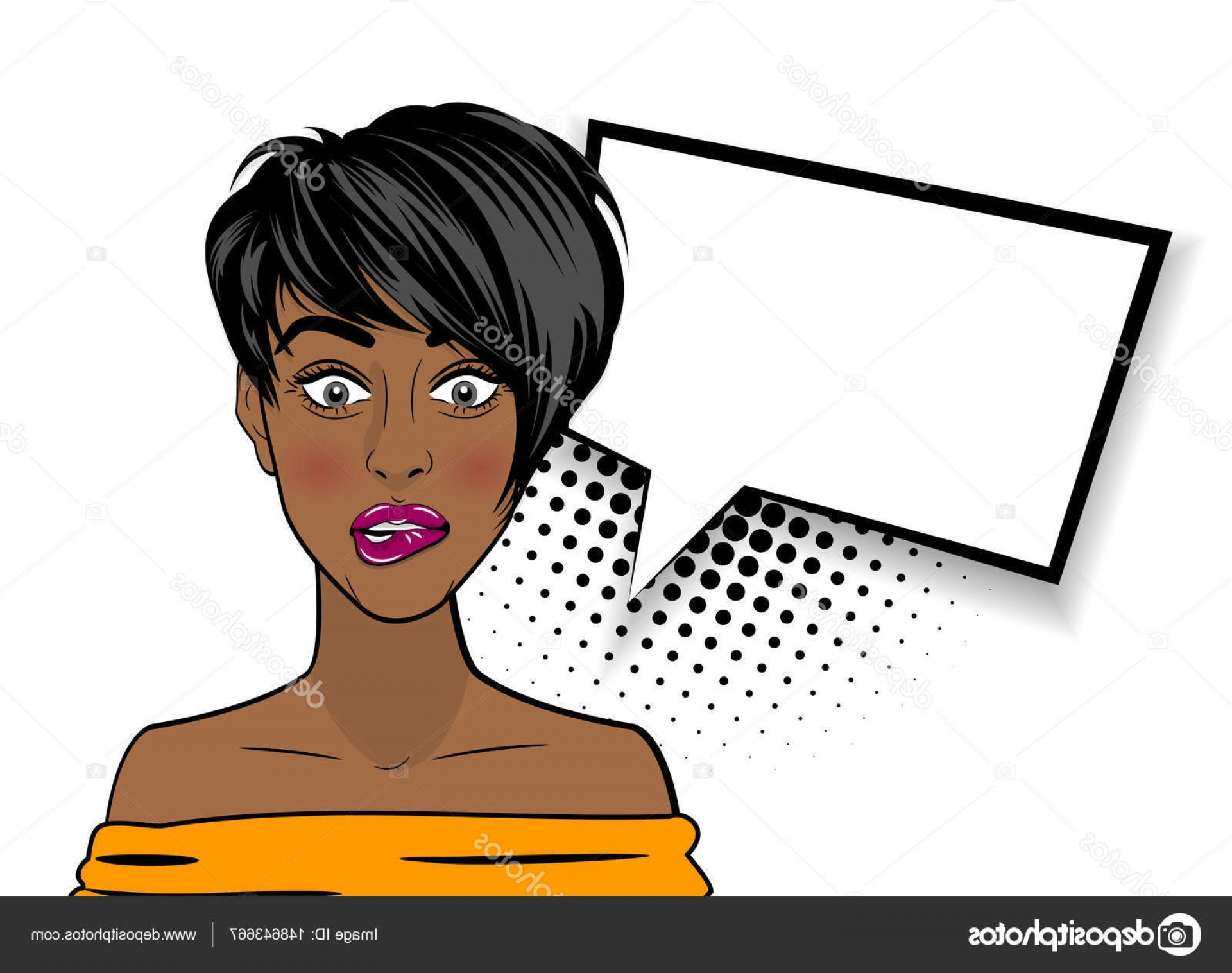 Black Woman Stock Vector: Stock Illustration Pop Art Shocked Sexy African