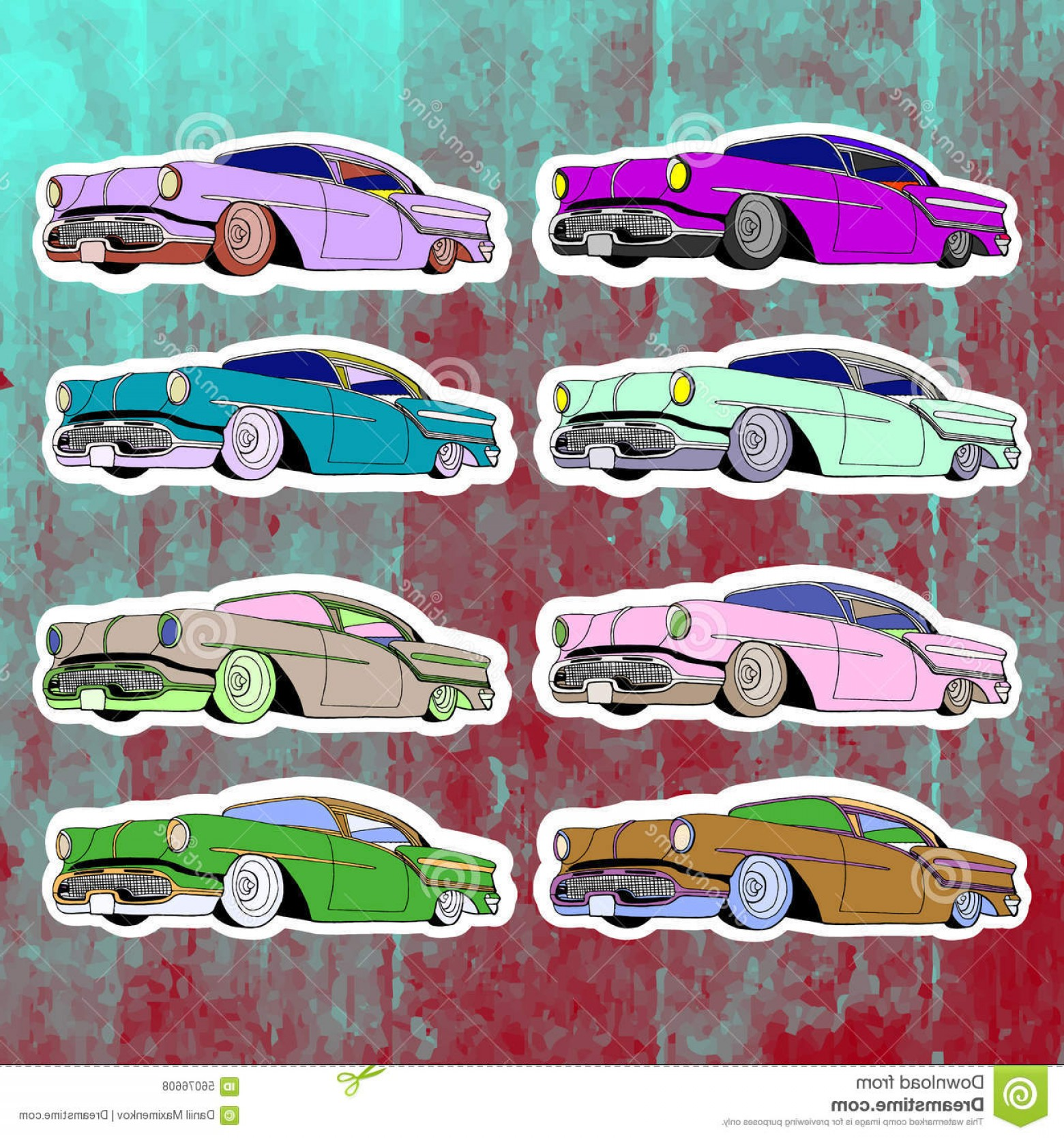Lowrider Vector: Stock Illustration Pop Art Stickers Set Hand Drawing Lowrider Vector Illustration Image