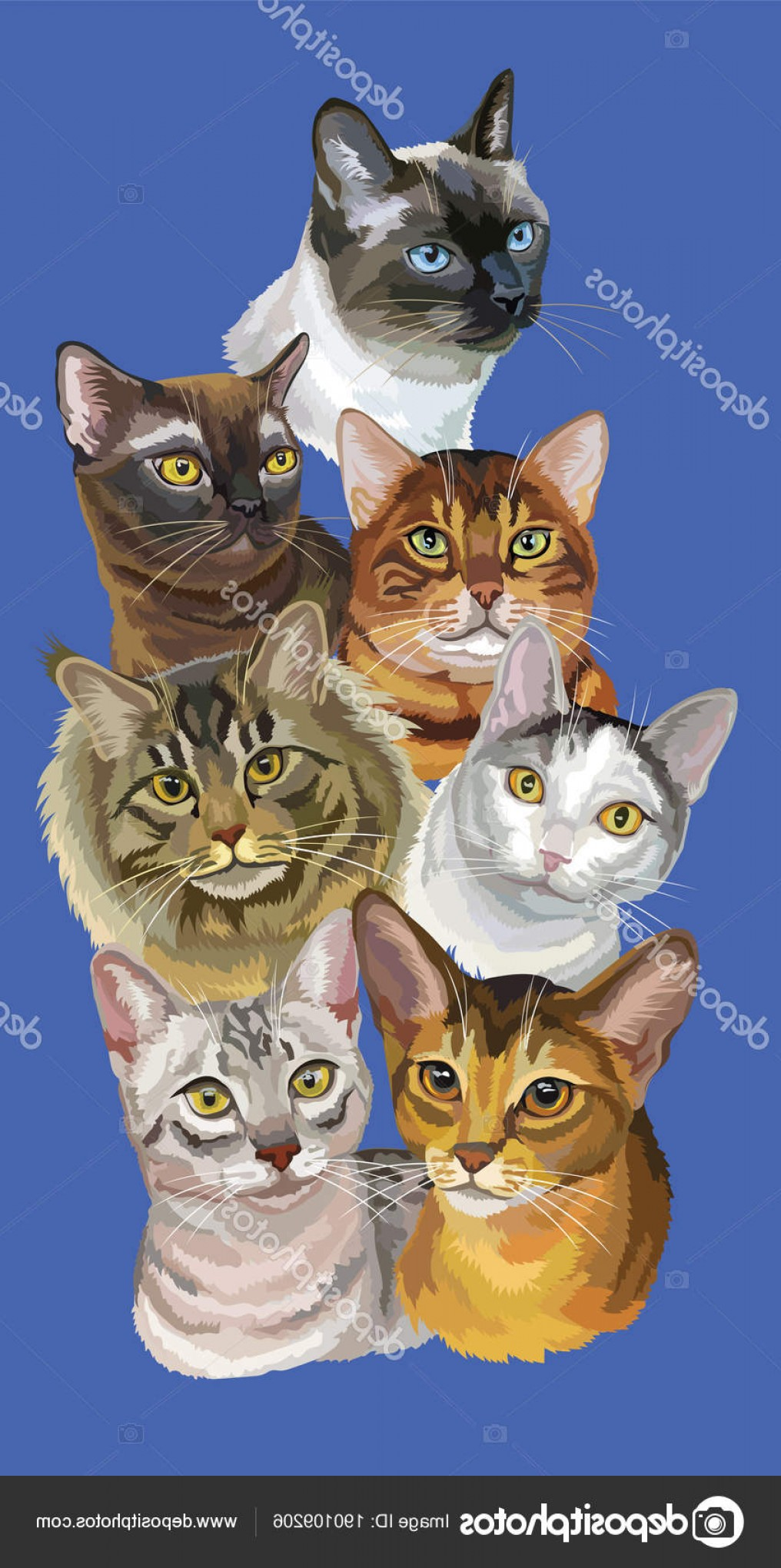 Vector Cats 3: Stock Illustration Postcard With Cats