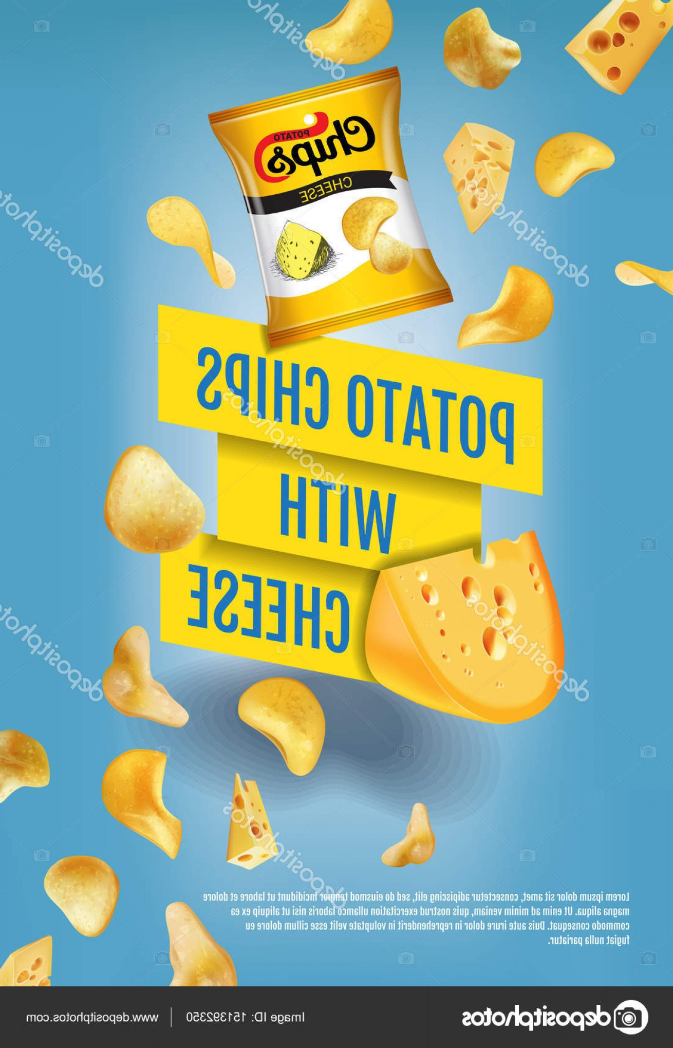 Chips Queso Vector: Stock Illustration Potato Chips Ads Vector Realistic