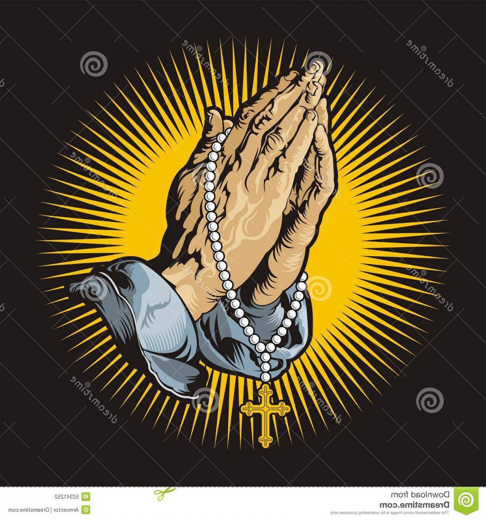 Praying Cowboy Vector: Stock Illustration Praying Hands Rosary Shihning Vector Image