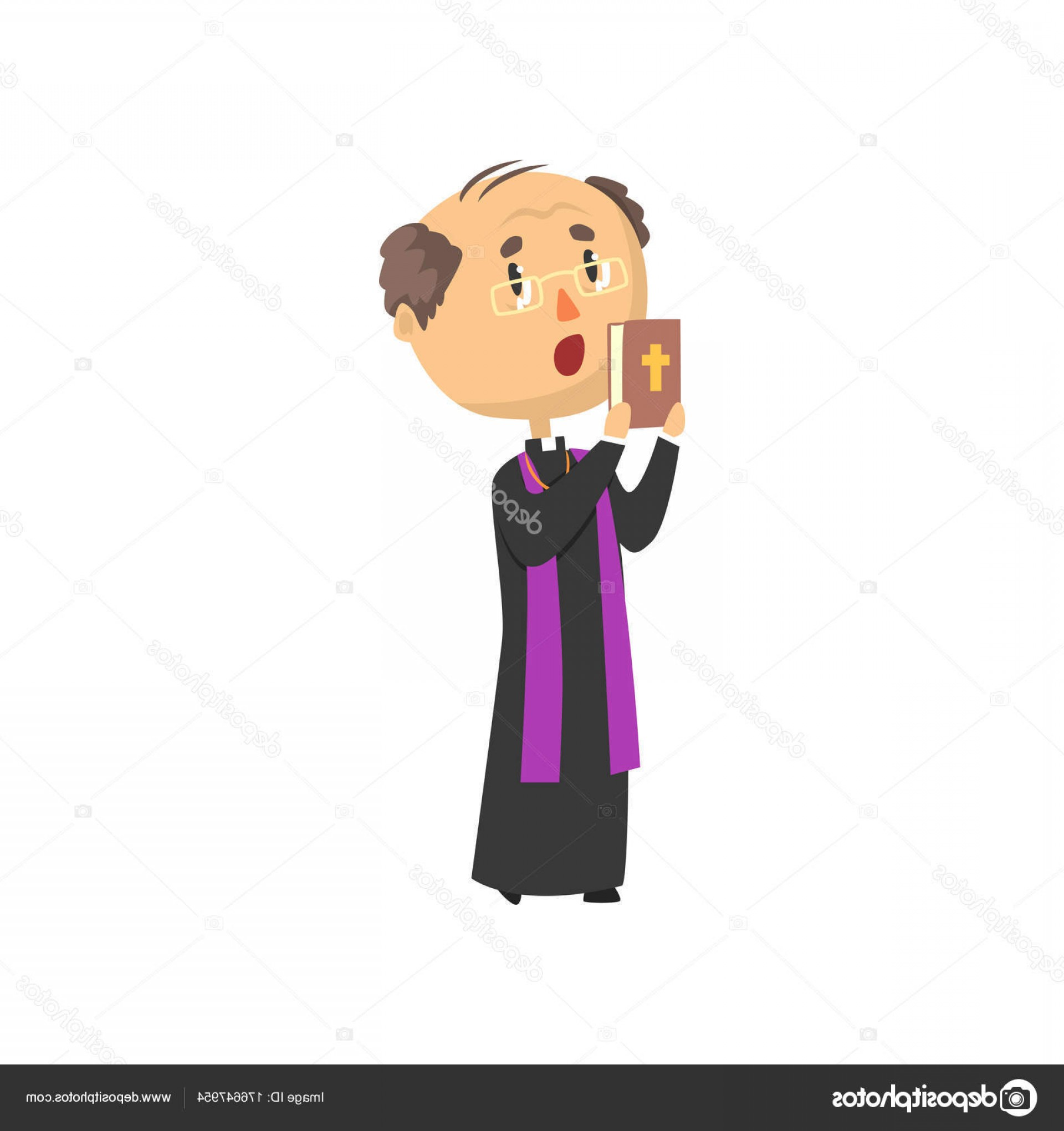 Bible Class Background Vector: Stock Illustration Priest Character People With Bible