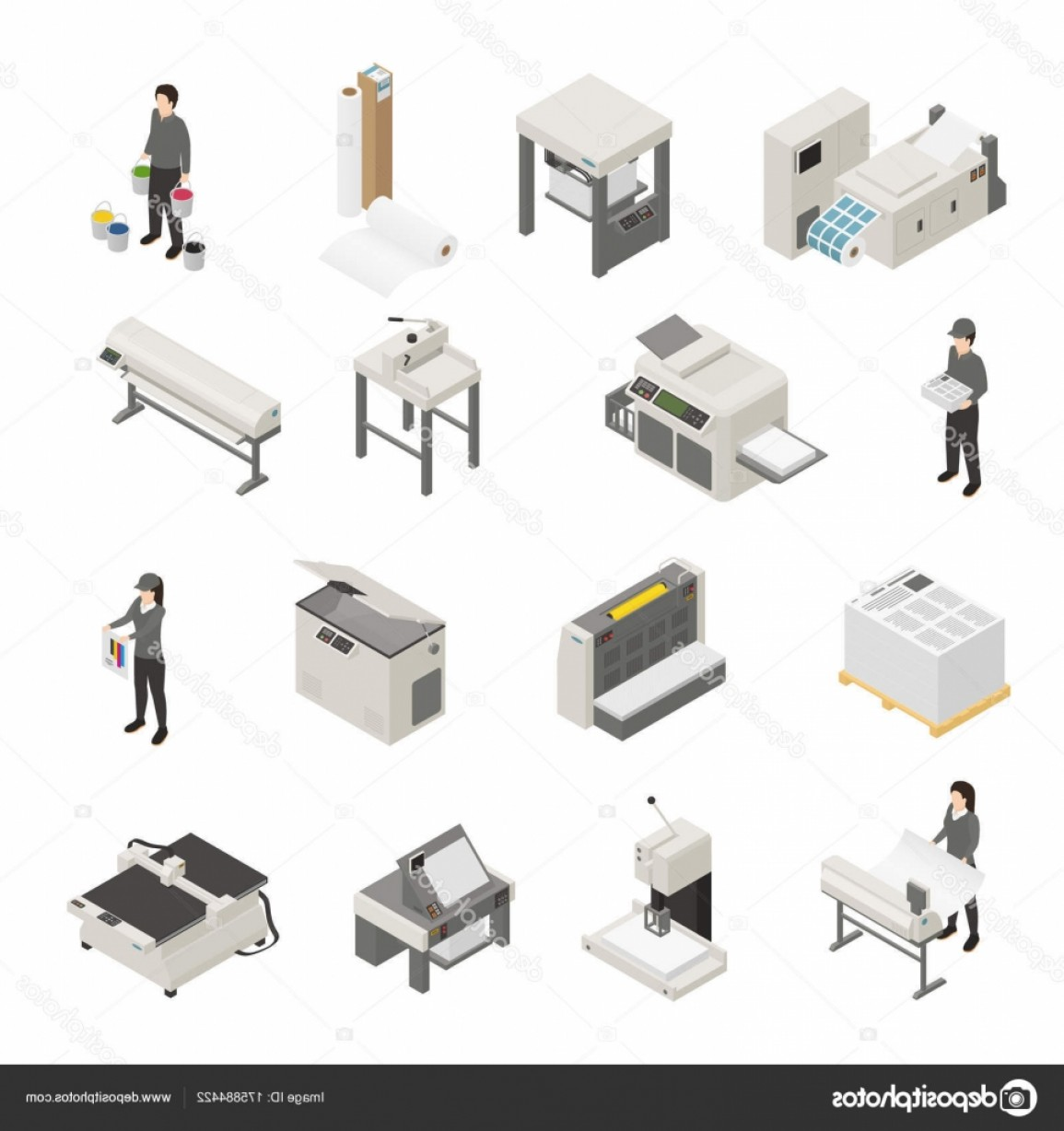Screen Printing Equipment Vector: Stock Illustration Printing House Isometric Icons Set