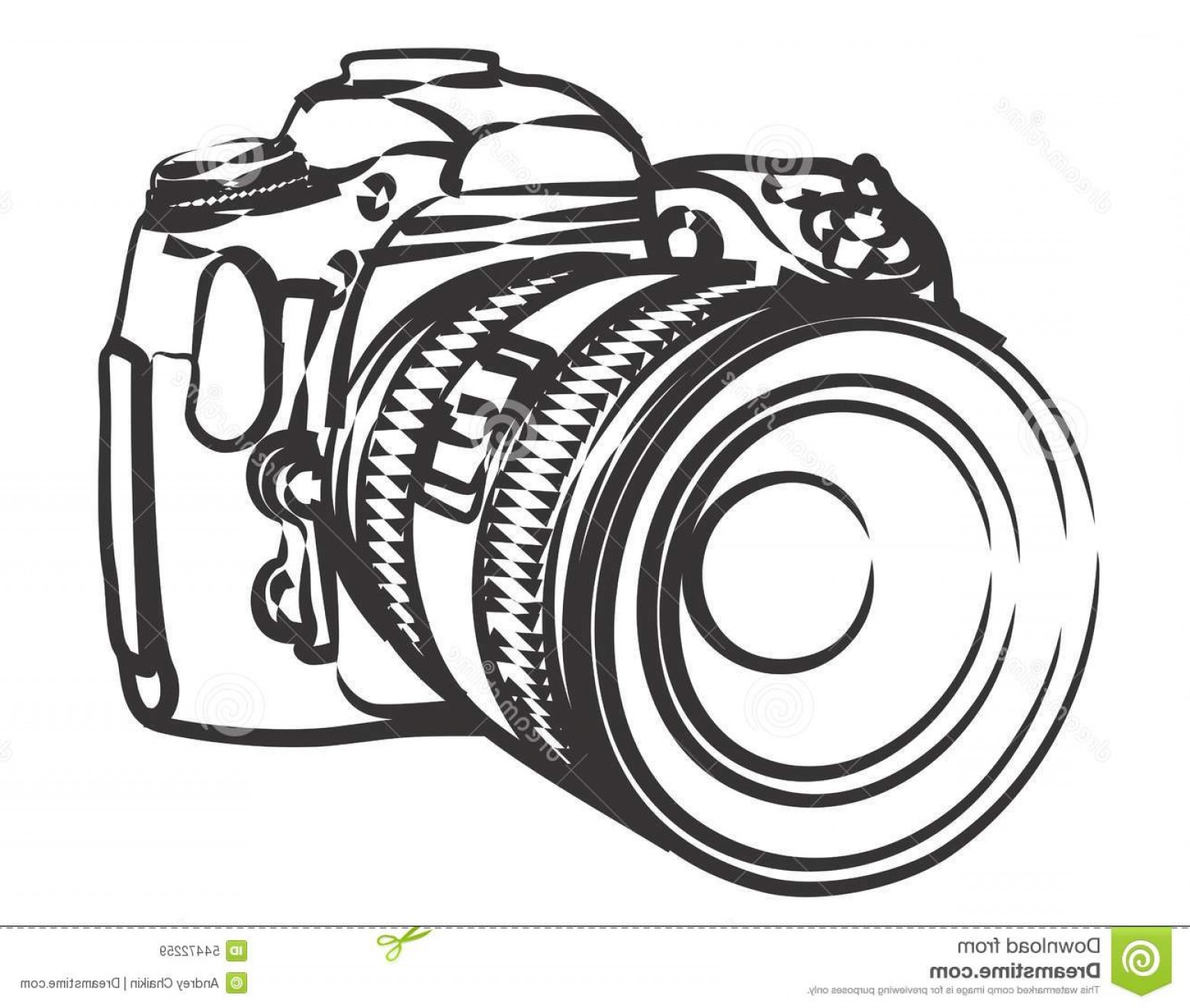 SLR Camera Vector: Stock Illustration Professional Camera Sketch Image