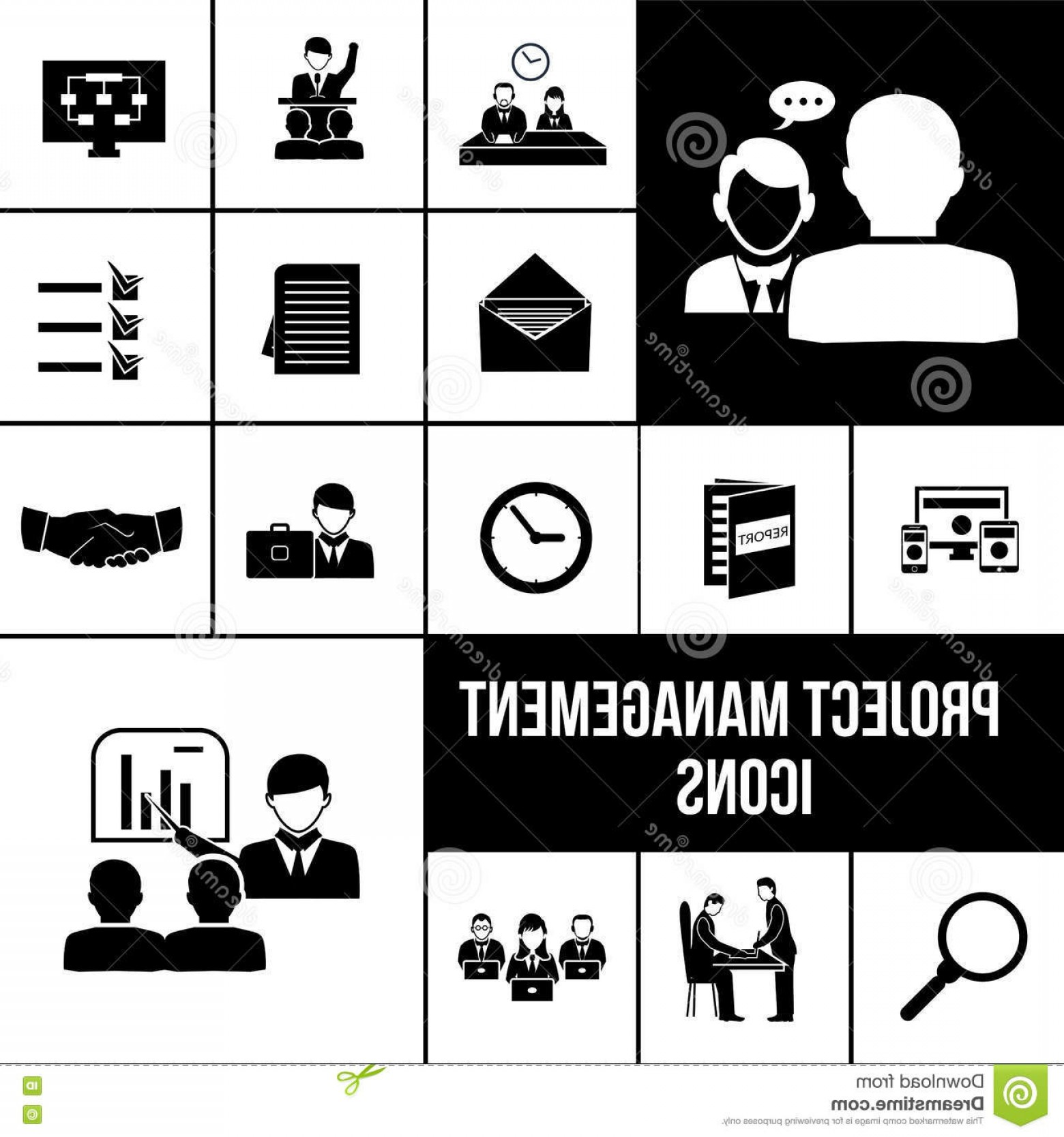Art Project Icon Vector: Stock Illustration Project Management Icons Black Set Business Analysis Teamwork Symbols Vector Illustration Image